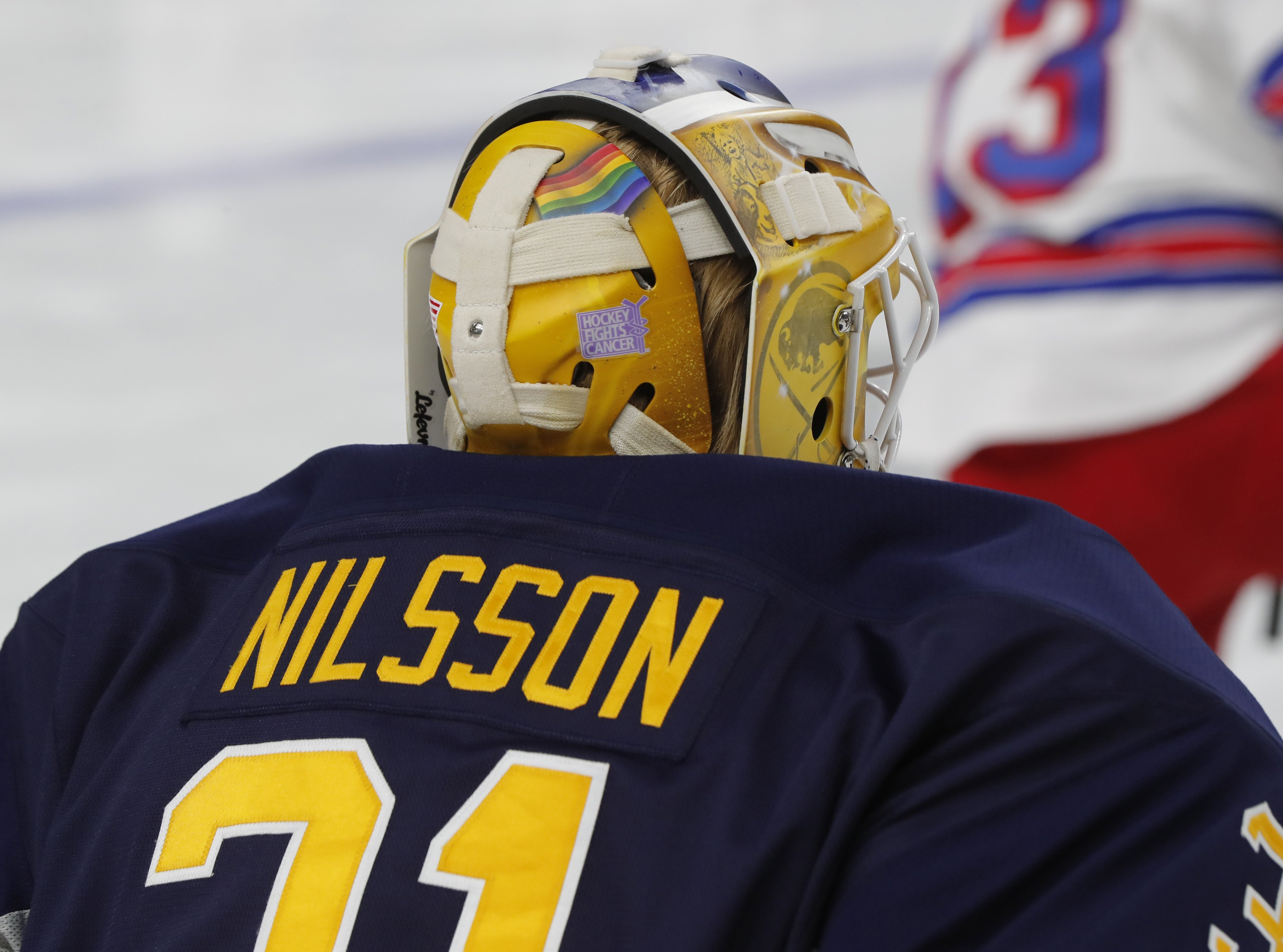 Anders Nilsson was sporting the rainbow flag before he was an official You Can Play ambassador. (Harry Scull Jr./Buffalo News)