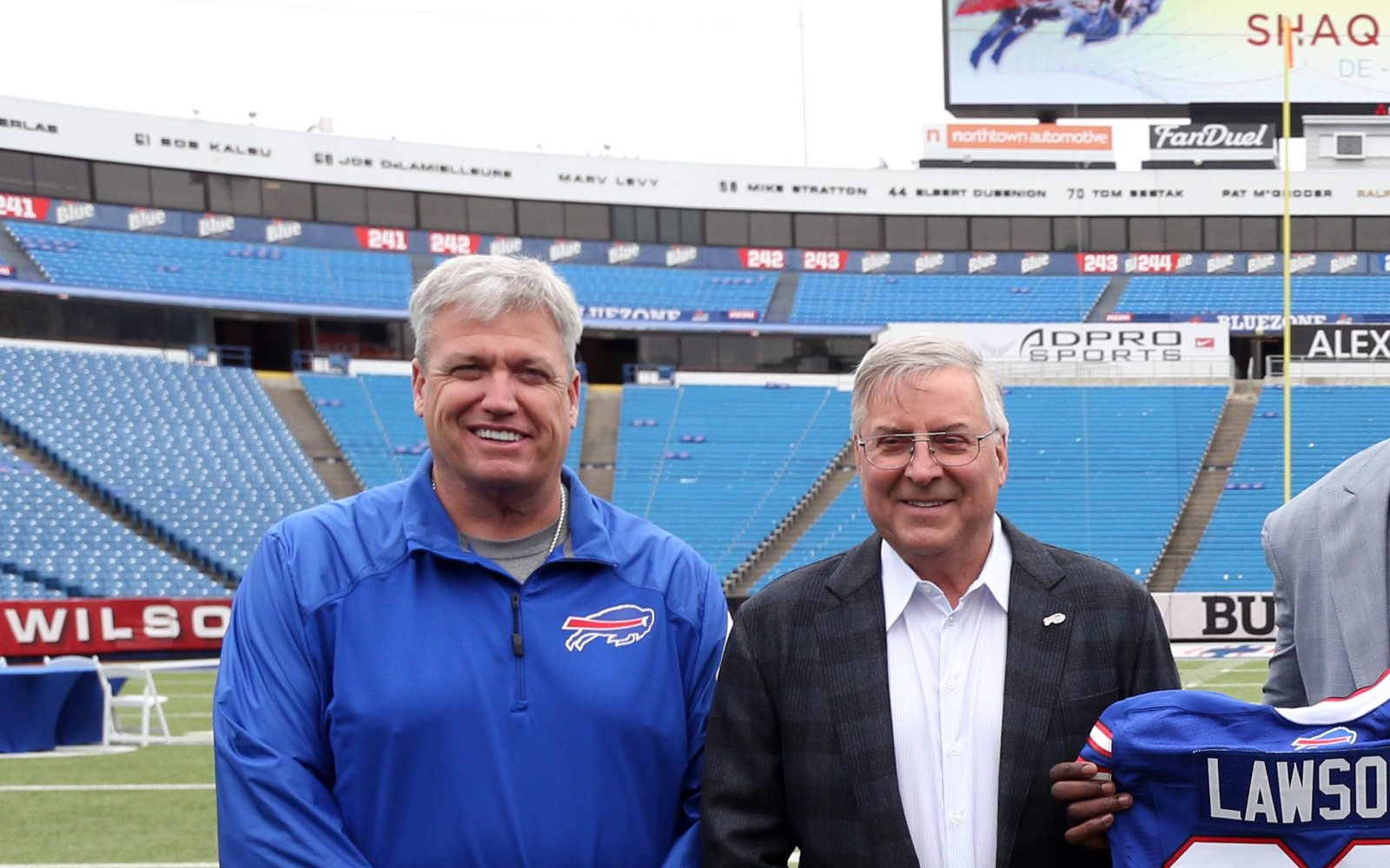 Bills owner Terry Pegula and then coach Rex Ryan posed together after the Bills drafted Shaq Lawson, (James P. McCoy/Buffalo News)