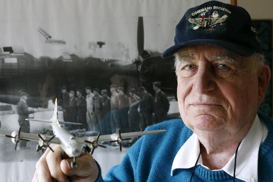 Anthony J. Queeno flew 25 combat missions in the B-29., where takeoffs were harrowing because of the heavy bomb load. (Derek Gee/Buffalo News)