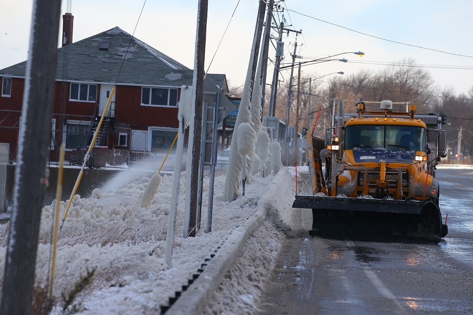 A .2-mile stretch of Route 5 in Hamburg was closed most of Thursday. (John Hickey/Buffalo News)