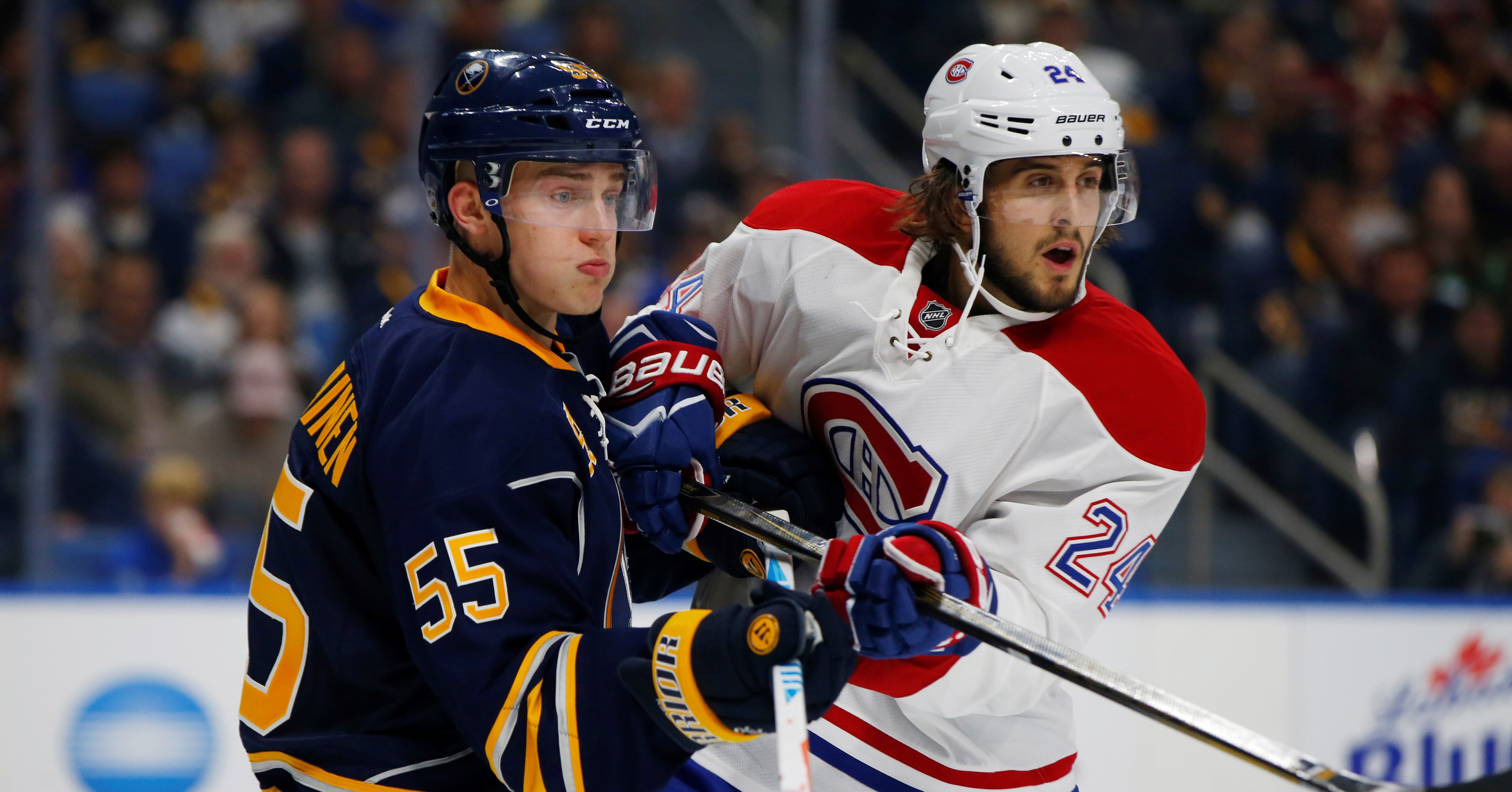 Buffalo Sabres Rasmus Ristolainen and Montreal Canadiens Phillip Danault battle for postion during second period action at KeyBank Center on Thursday, Oct. 13, 2016.(Harry Scull Jr./Buffalo News)