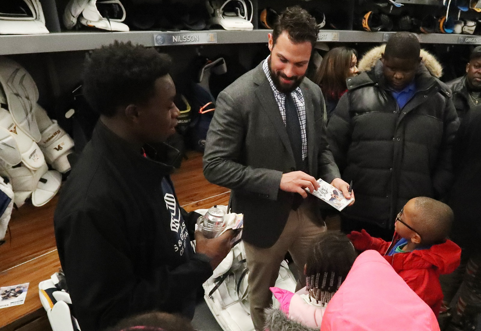 The Sabres' Zach Bogosian, second from left, hosts the inaugural Casino For a Cause on Saturday, supporting his charitable foundation.   (James P. McCoy/Buffalo News file photo)
