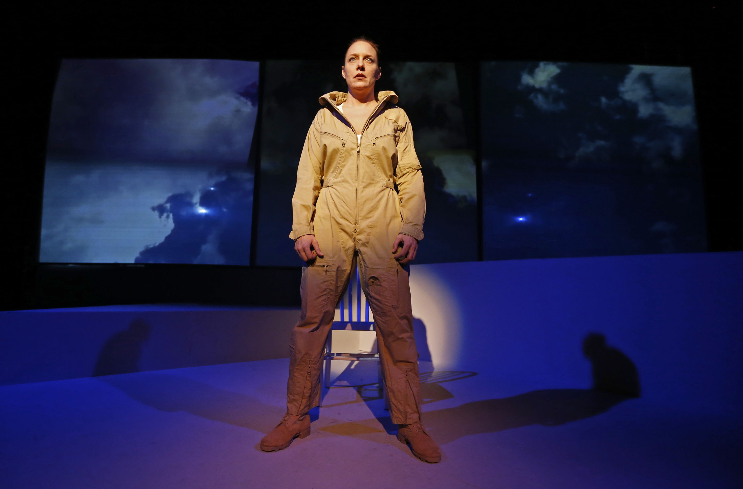 "Aleks Malejs stars in the Kavinoky Theatre's production of ""Grounded,"" about a female fighter pilot adjusting to a new assignment. (Robert Kirkham/Buffalo News)"