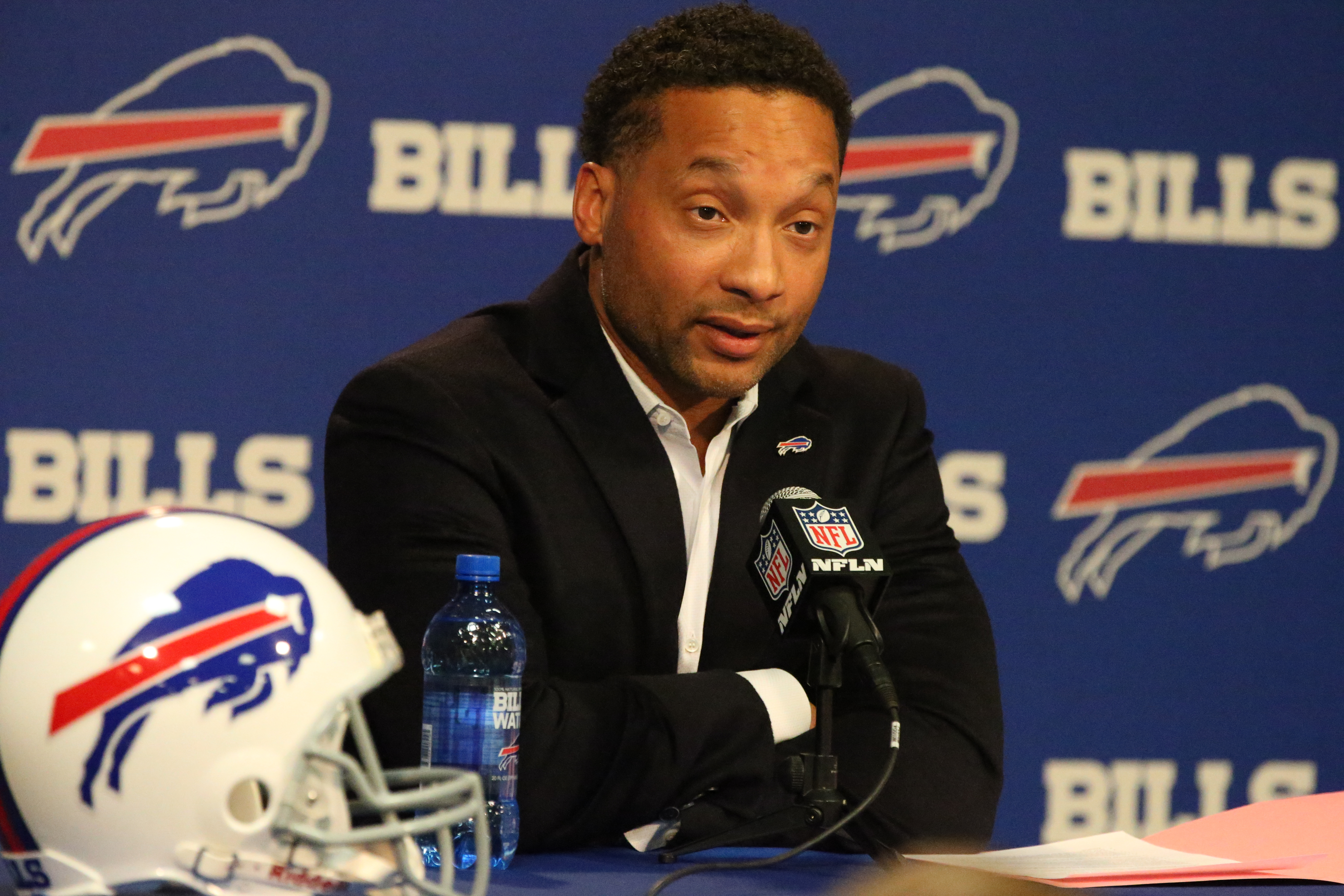 Buffalo Bills General Manager Doug Whaley addresses the press during the end-of-year news conference at ADPRO Sports Training Center in Orchard Park on Jan. 2, 2017. (James P. McCoy/Buffalo News)