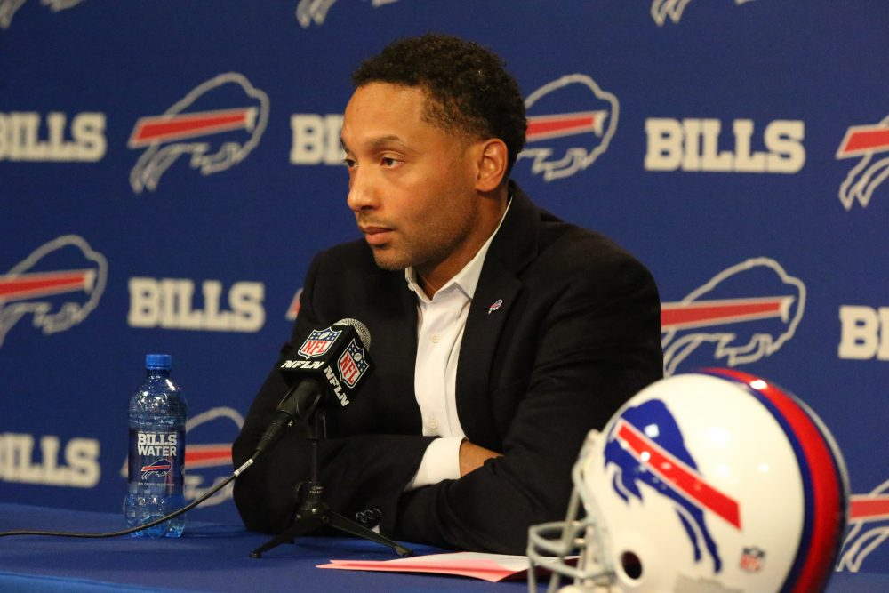 Former Buffalo Bills General Manager Doug Whaley addresses the media during the end-of-year press conference on Jan. 2. (James P. McCoy/Buffalo News)