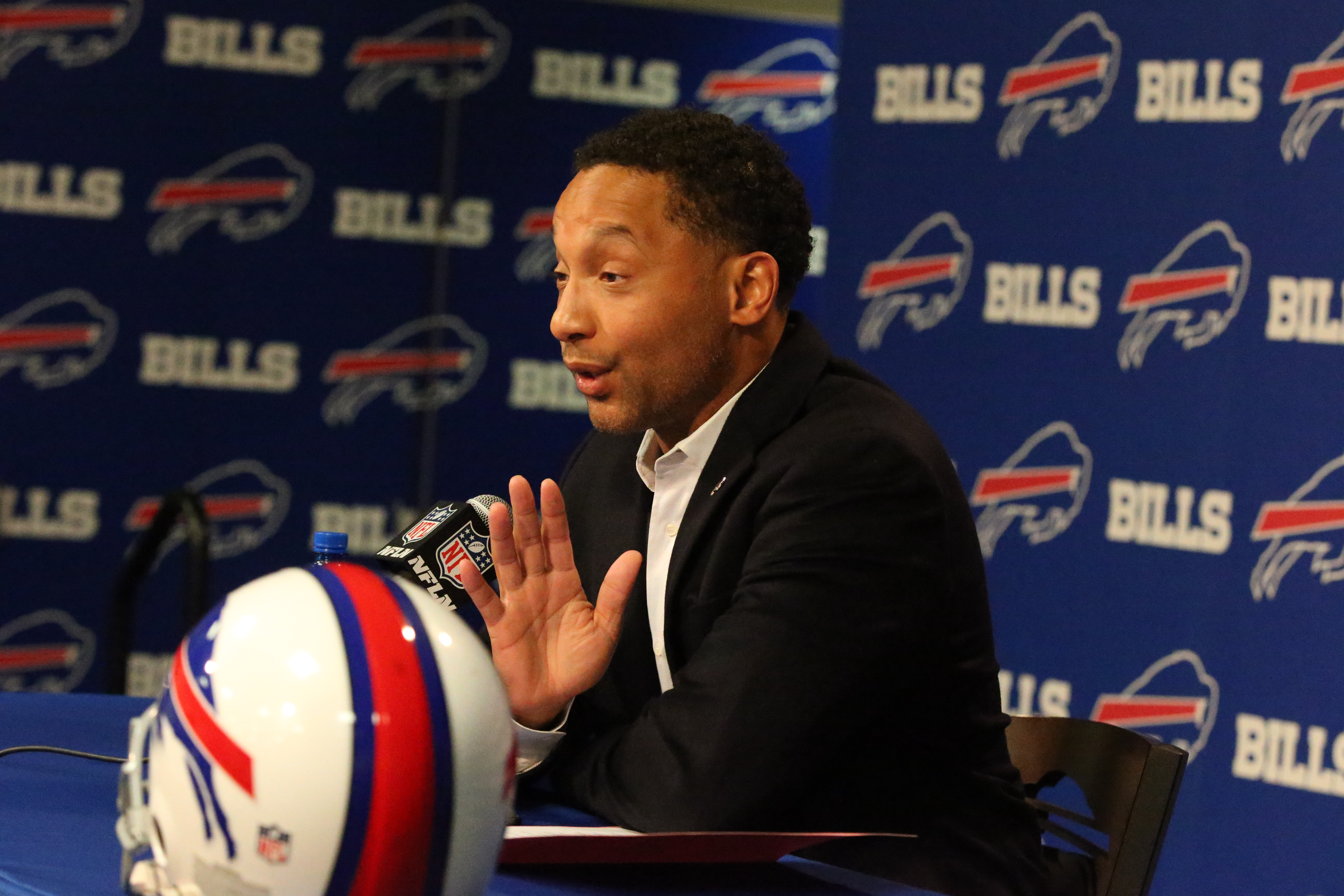 Buffalo Bills General Manager Doug Whaley responds to a question Monday. (James P. McCoy/Buffalo News)