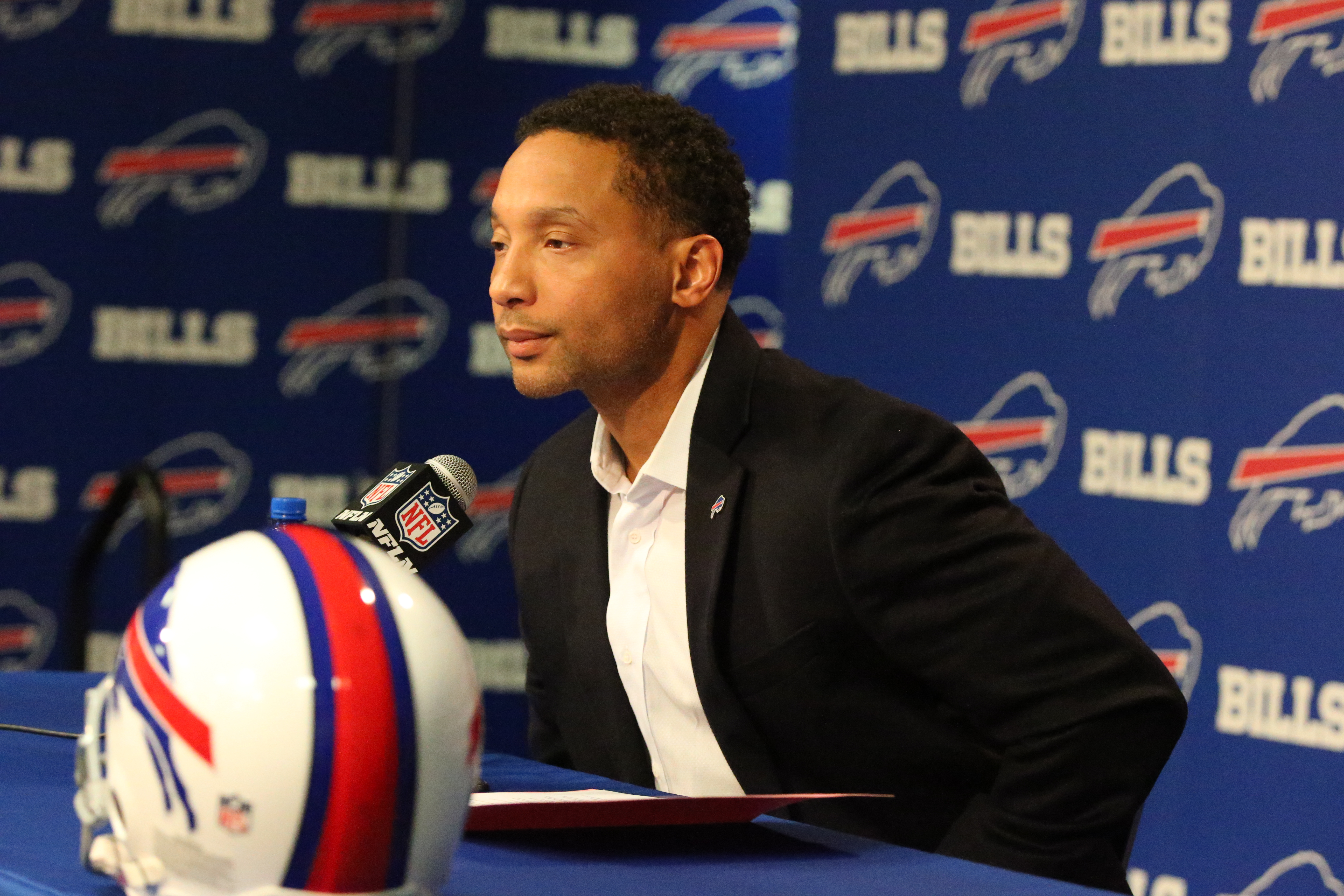 Former Bills General Manager Doug Whaley addresses reporters at his disastrous end-of-year news conference. (James P. McCoy/Buffalo News)