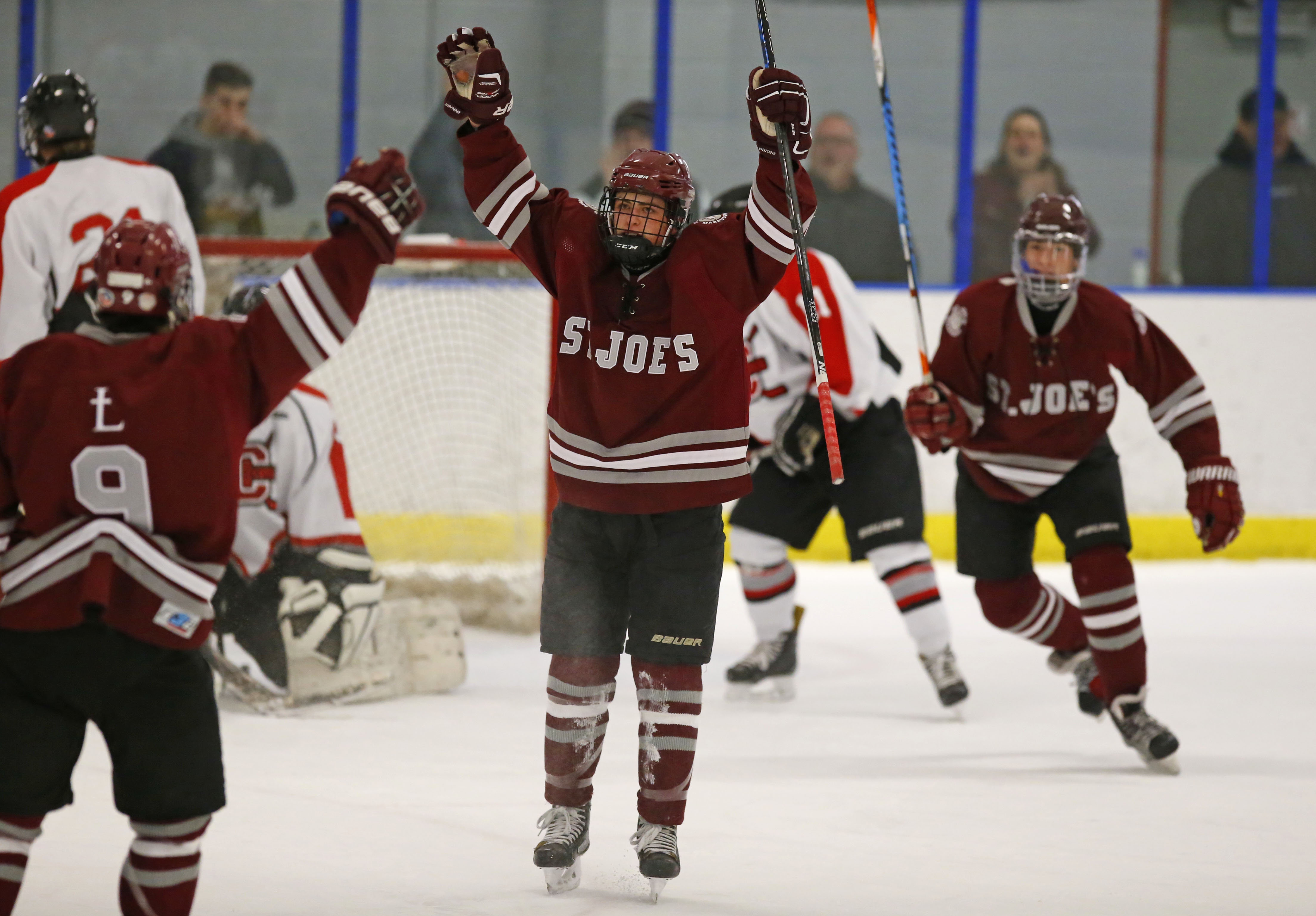 St. Joe's Mark Gilbert celebrates after scoring what turned out to be the game-winning goal in a 1-0 win over Clarence. (Harry Scull Jr./Buffalo News)