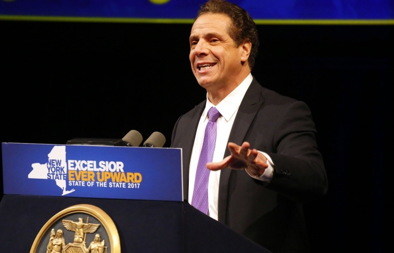 Gov. Andrew M. Cuomo, shown delivering his State of the State at UB Monday, aired a strategy for cutting property taxes in his Westchester State of the State address Tuesday. (Mark Mulville/Buffalo News)