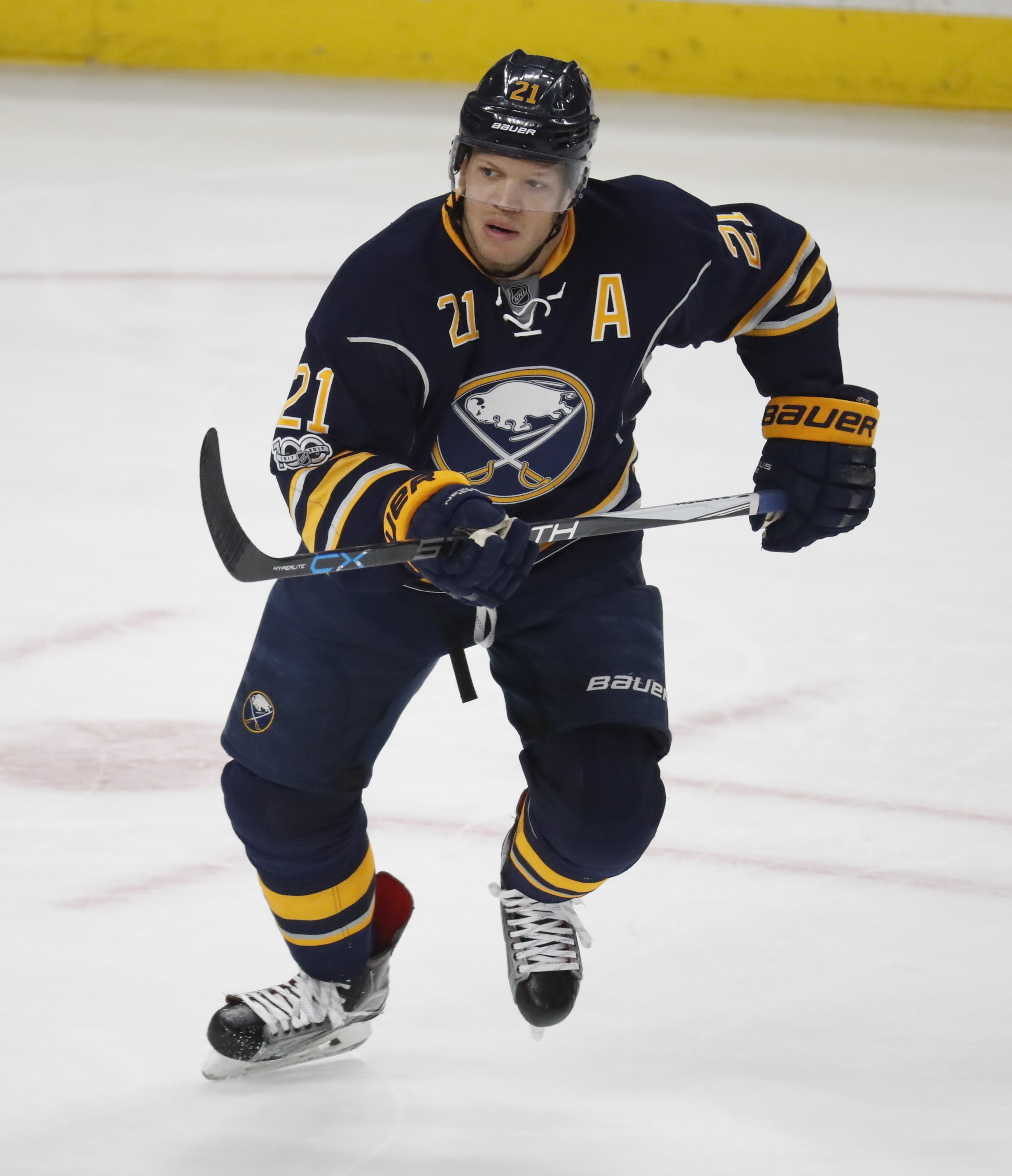 Kyle Okposo is still out with an illness.  (Harry Scull Jr./Buffalo News)