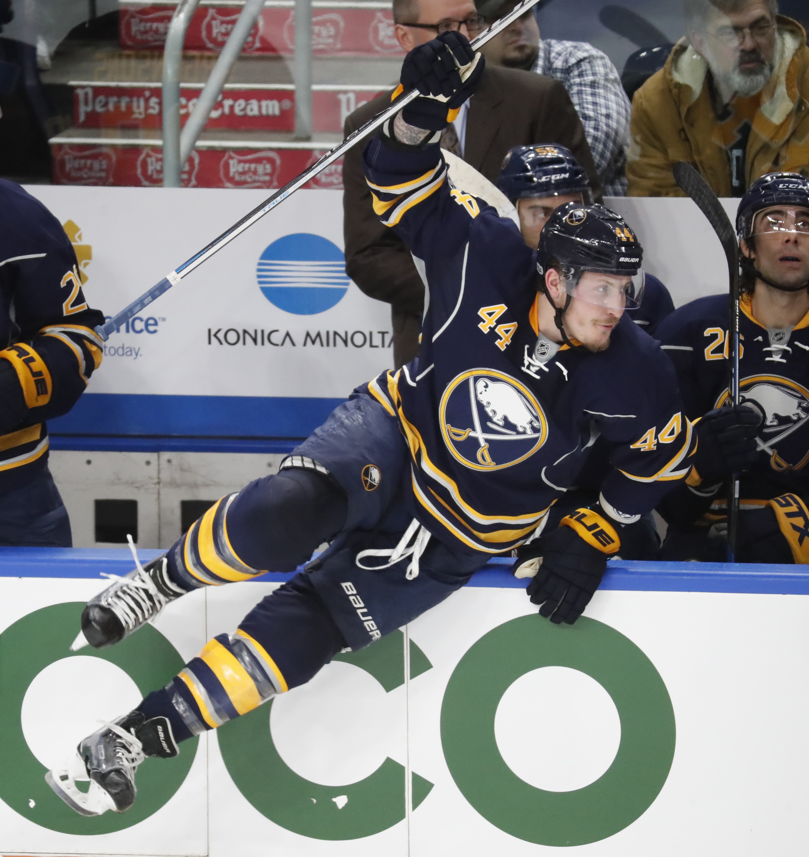 Buffalo Sabres forward Nicholas Deslauriers is used to fighting for a roster spot during training camp. (Harry Scull Jr./Buffalo News file photo)