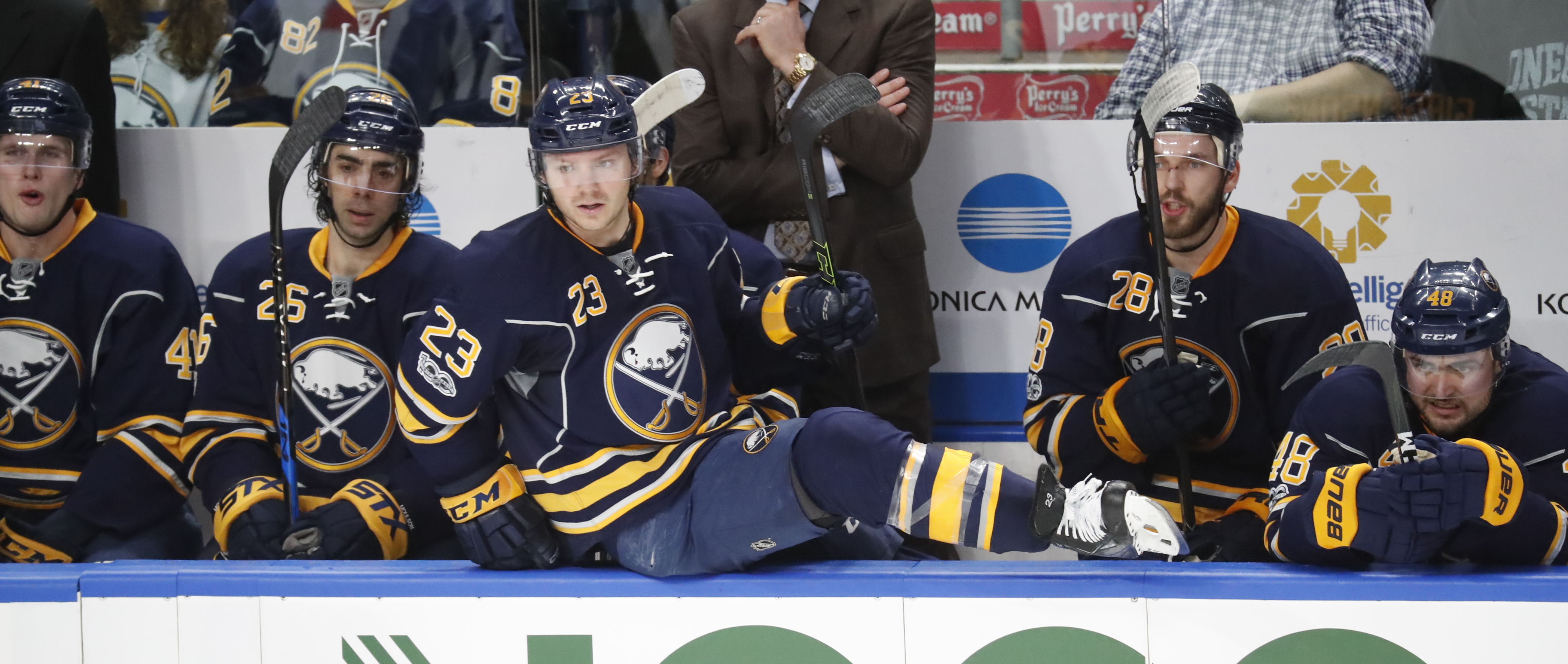 Sam Reinhart, center, has started to produce points for the Sabres after a slow start this season. (Harry Scull Jr./Buffalo News)
