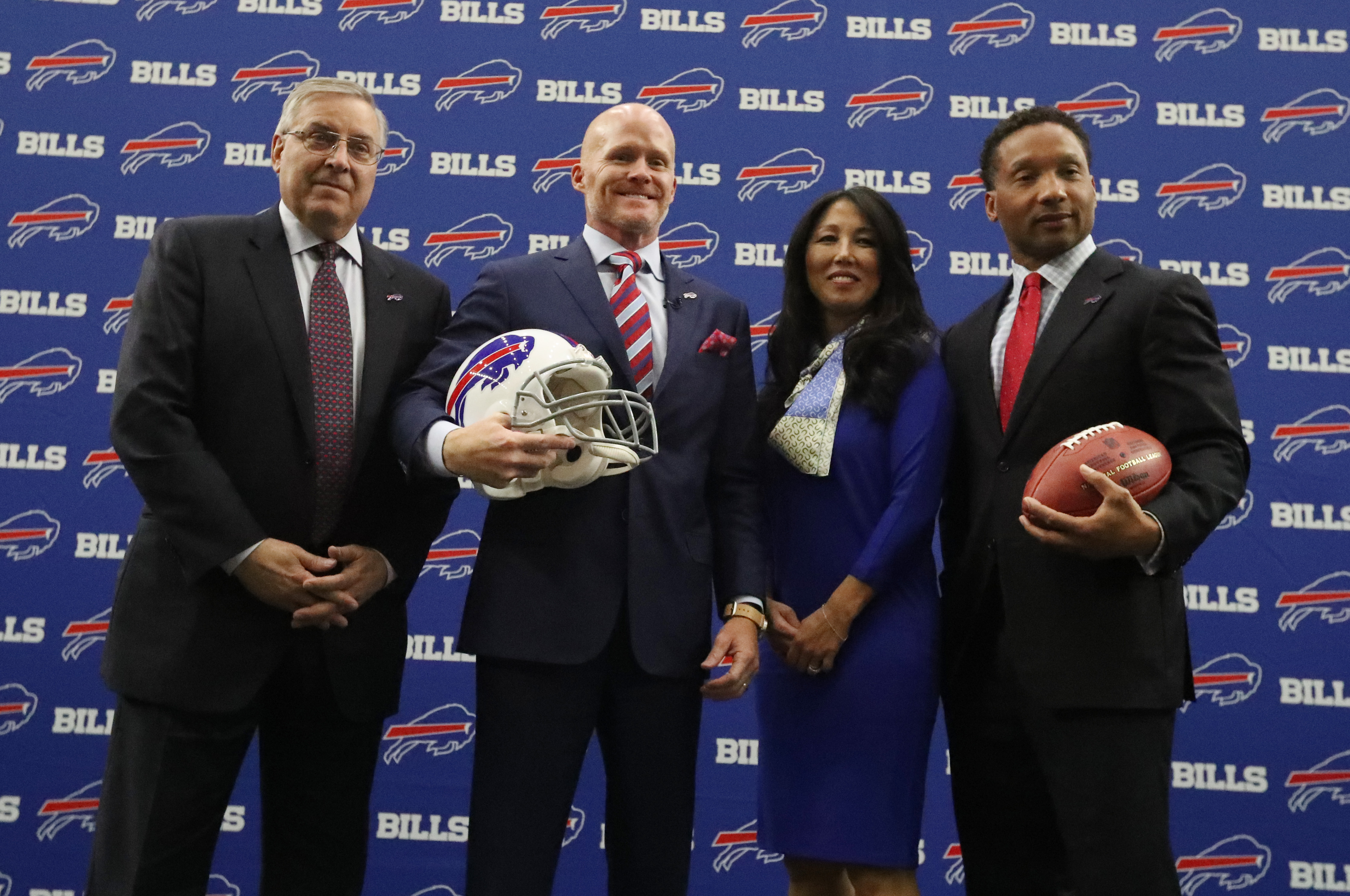 The Buffalo Bills, led by owners Terry and Kim Pegula, coach Sean McDermott and General Manager Doug Whaley, face long odds to win Super Bowl LII. (James P. McCoy/Buffalo News)