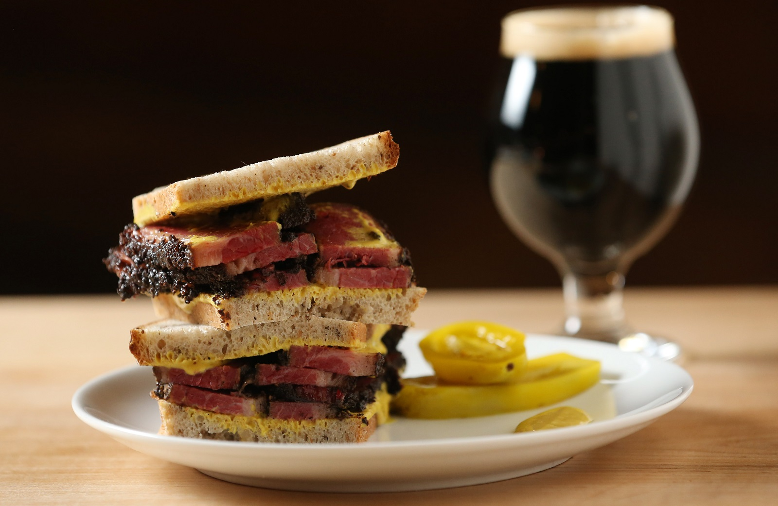 The Grange Community Kitchen's housemade pastrami on rye comes with beer mustard and pickles.  It's available for lunch only. (Sharon Cantillon/Buffalo News)