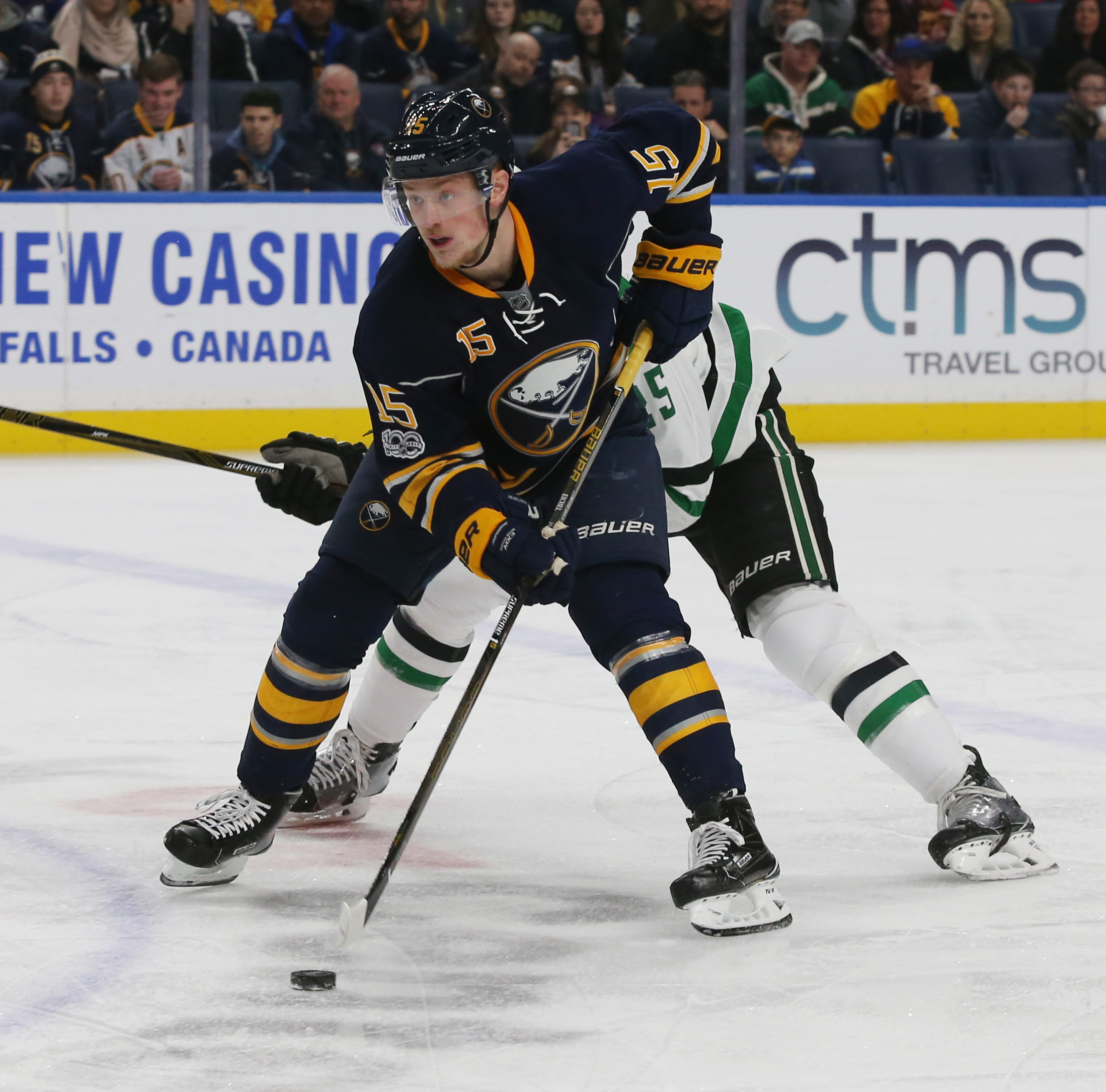 Jack Eichel is learning to be more discerning with his aggressive offensive play. (James P. McCoy/Buffalo News)