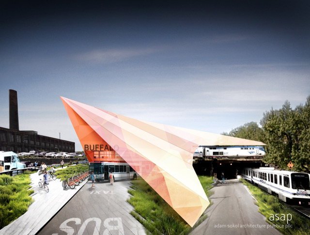 Architect Adam Sokol's vision for a modern-looking train station at Larkinville.