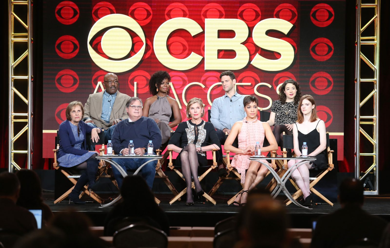 Actors Delroy Lindo, Erica Tazel, Justin Bartha and Sarah Steele, executive producer Michelle King, executive producer Robert King, actors Christine Baranski, Cush Jumbo and Rose Leslie of the television show 'The Good Fight' speak onstage during day five of the CBS portion of the 2017 Winter Television Critics Association Press Tour in Pasadena.  (Frederick M. Brown/Getty Images)