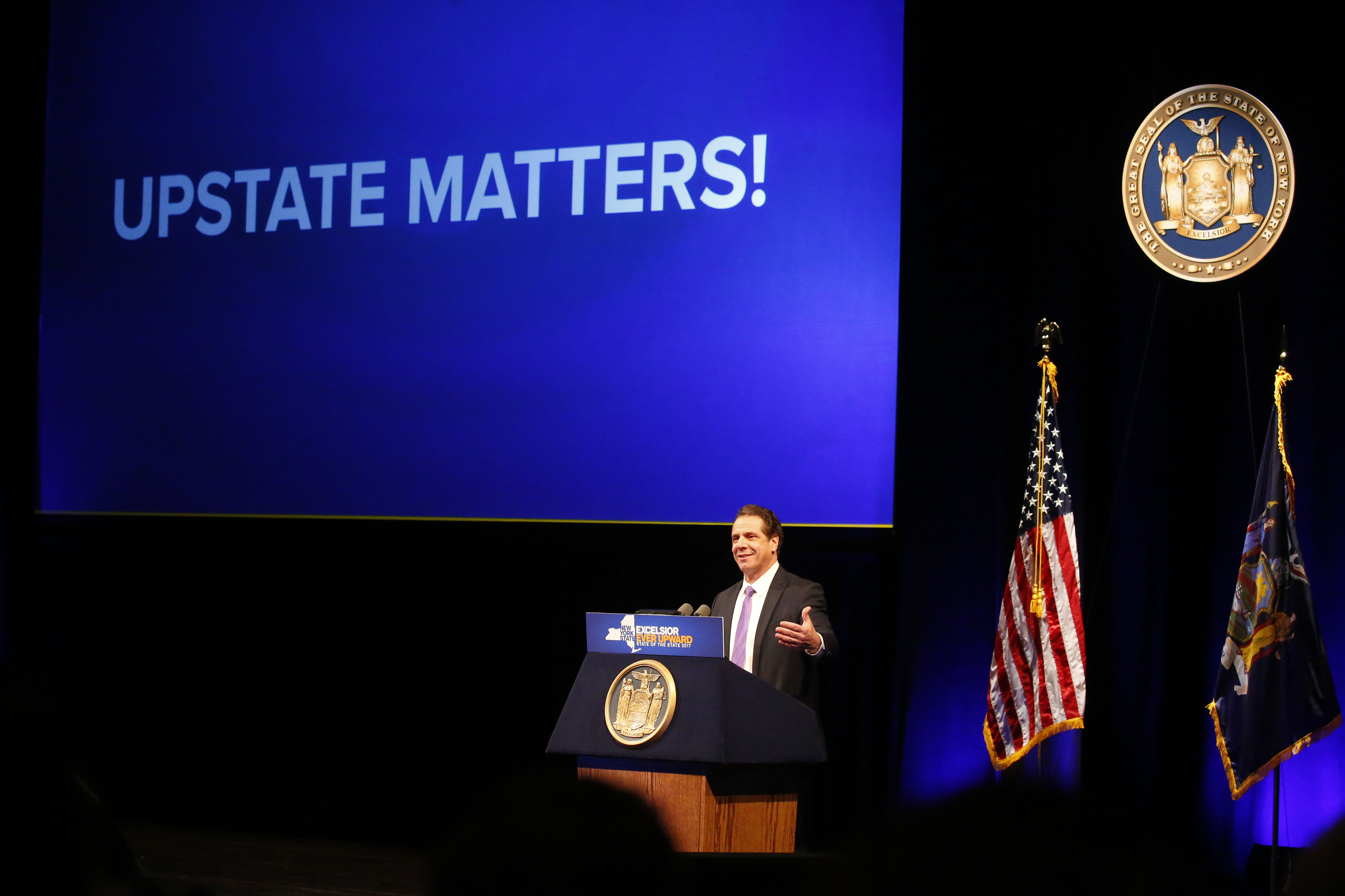 Gov. Andrew Cuomo gives his State of the State address at the University at Buffalo  Center for the Arts in Amherst Monday, January 9, 2017.  (Mark Mulville/The Buffalo News)
