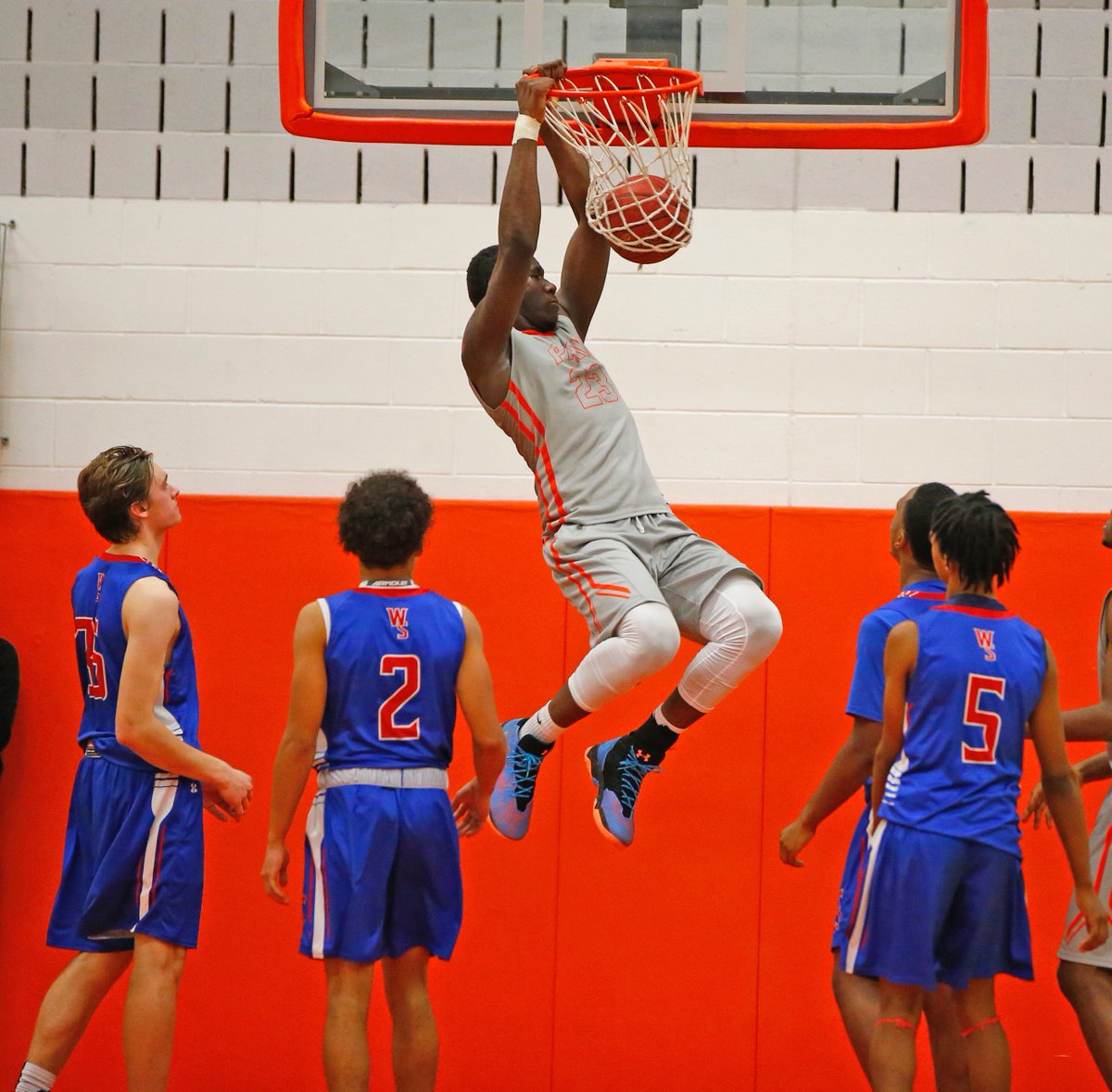 Joe Jones throws down two points for Park during its comeback win over Williamsville South on Thursday. (Harry Scull Jr./Buffalo News)
