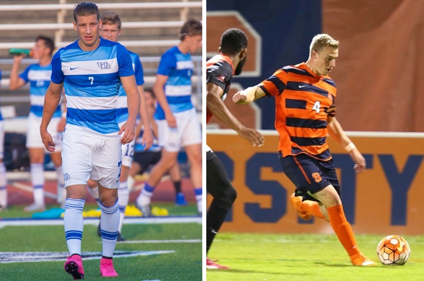 Russell Cicerone, left, and Liam Callahan, right, are both listed in MLS SuperDraft mock drafts by national writers. (Don Nieman/Special to The News; SU Athletics)