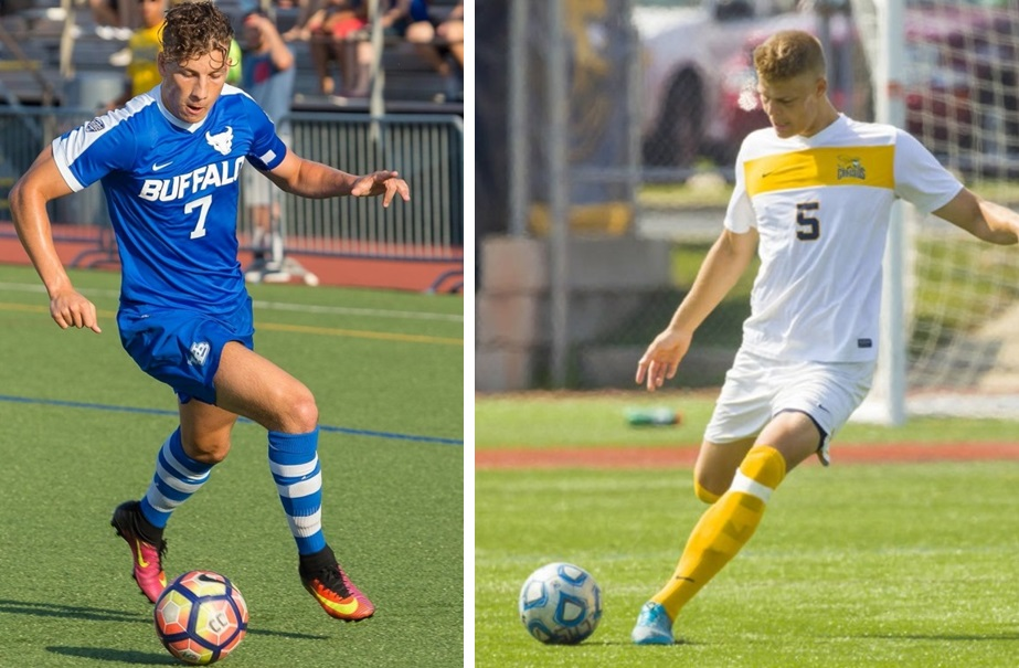 Russell Cicerone, left, captured BN Soccer's Player of the Year, while Thomas Teupen, right, won DPOY. (left image from Don Nieman, right image courtesy of Canisius Athletics)