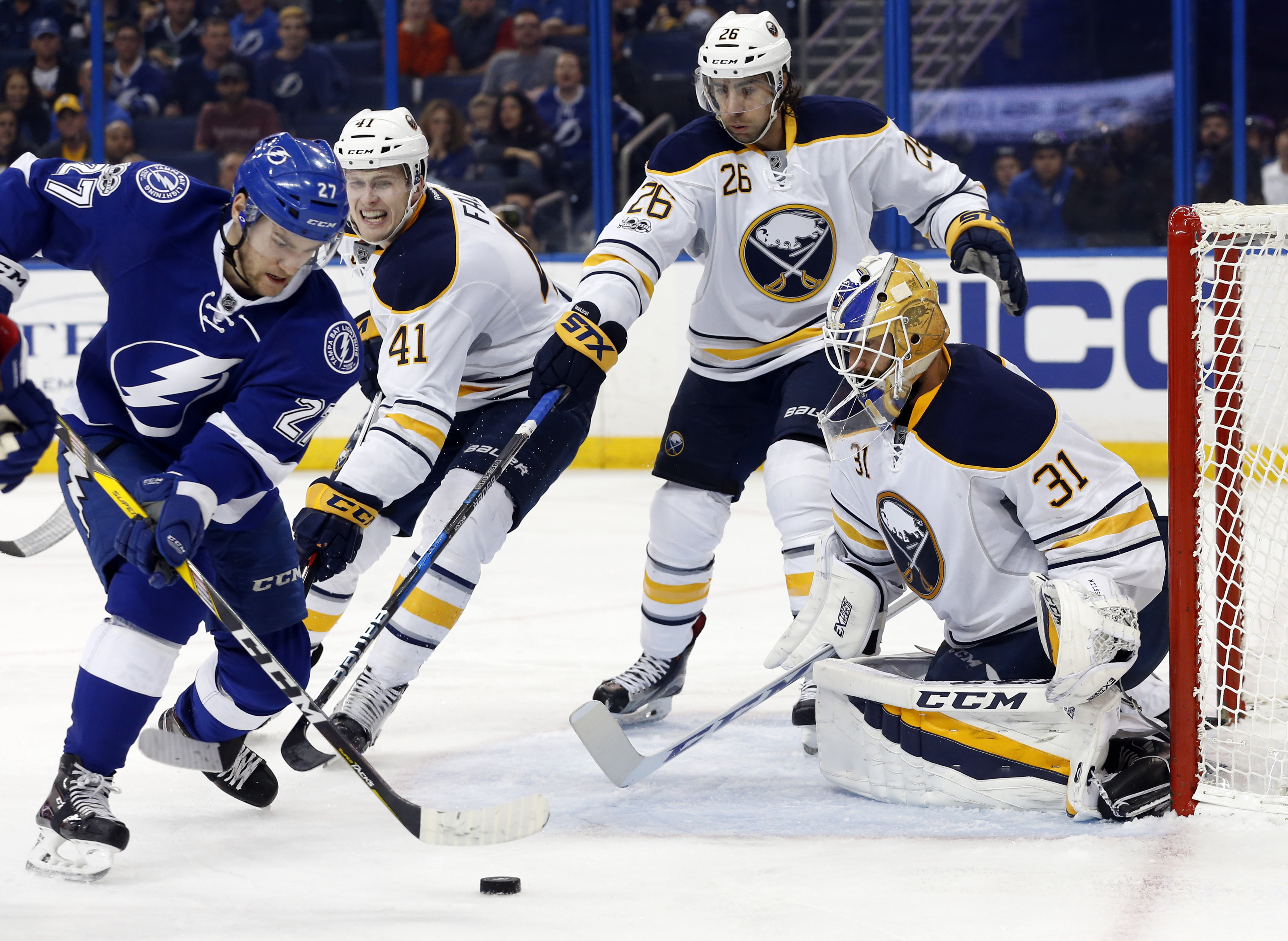 Tampa Bay's Jonathan Drouin works against Sabres goalie Anders Nilsson (Kim Klement-USA TODAY Sports)