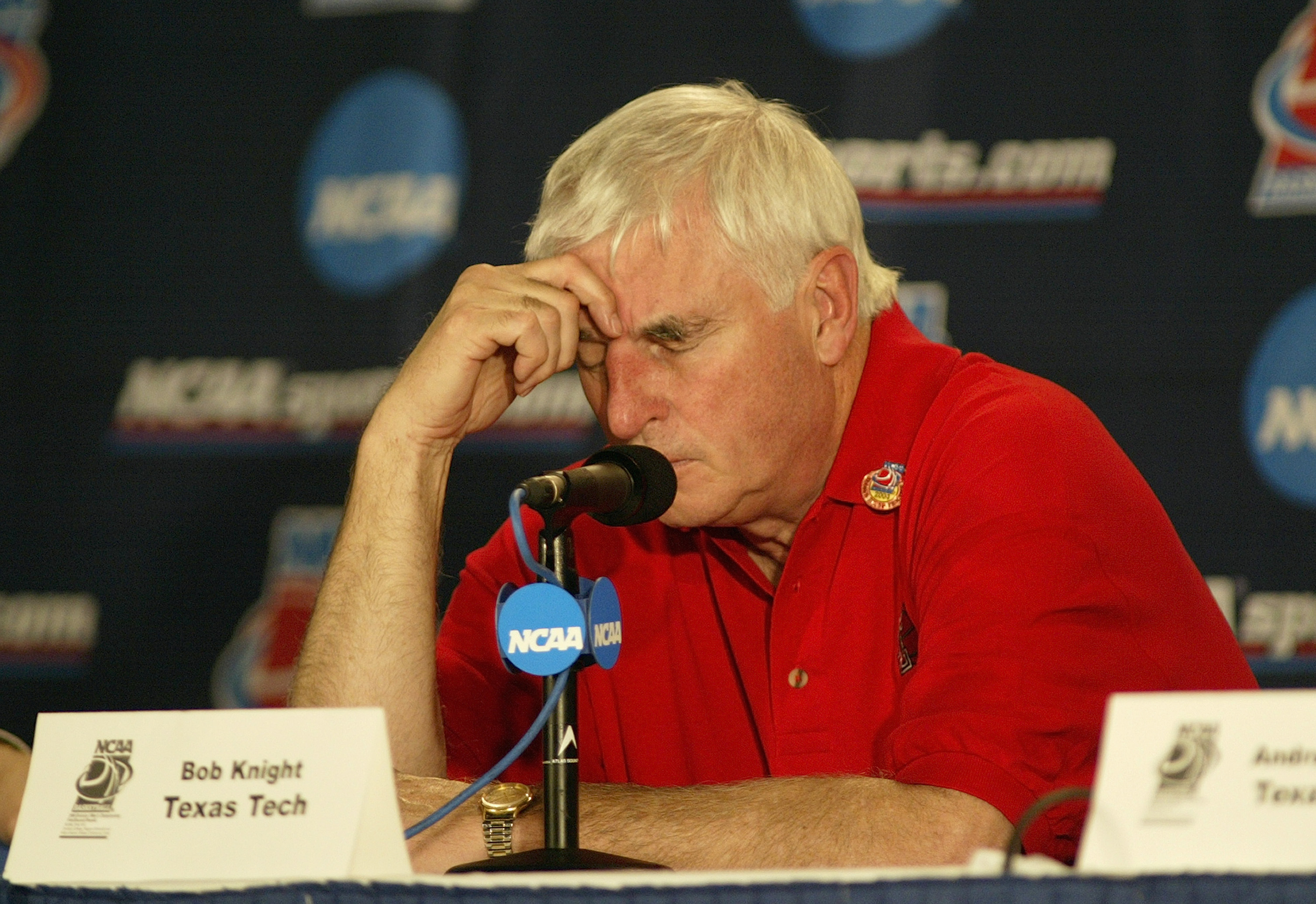 Tex Tech head coach Bob Knight after the loss to Saint Joseph's. (Getty Images)