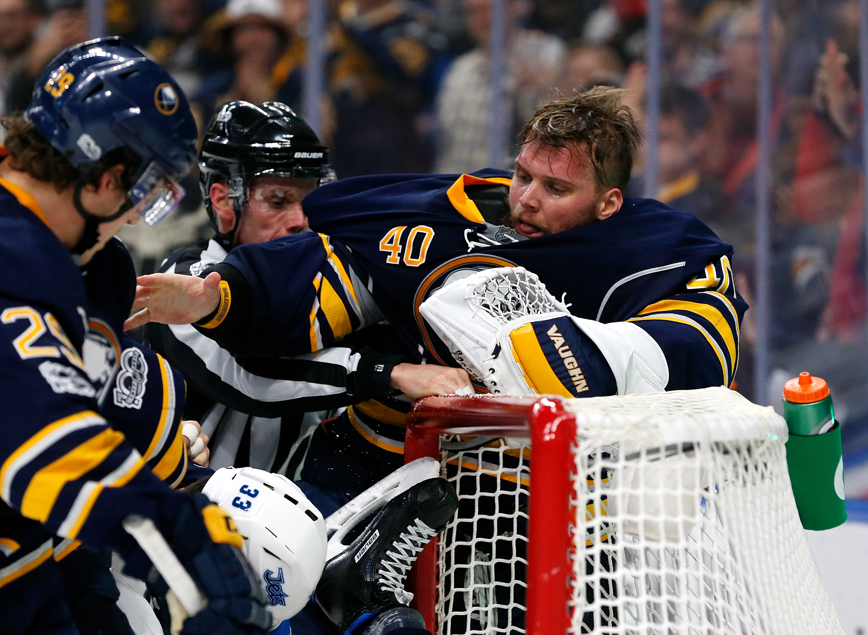 Robin Lehner and the Sabres have shown plenty of fight late in games. (Getty Images)