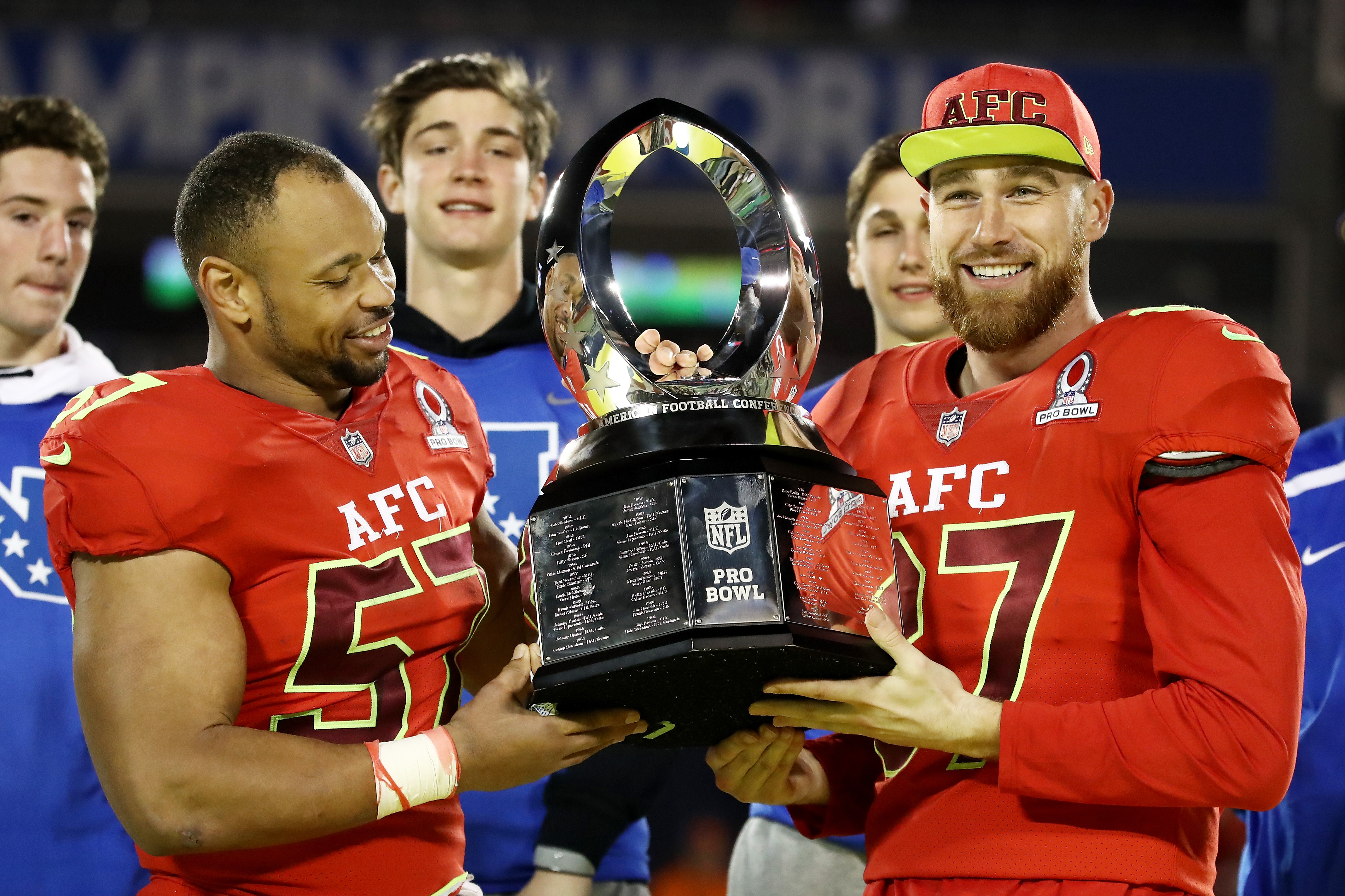 Lorenzo Alexander of the Bills, left, and Travis Kelce of the Kansas City Chiefs pose after the AFC's win in the NFL Pro Bowl. Alexander was named defensive MVP and Kelce was the offensive MVP. (Getty Images)