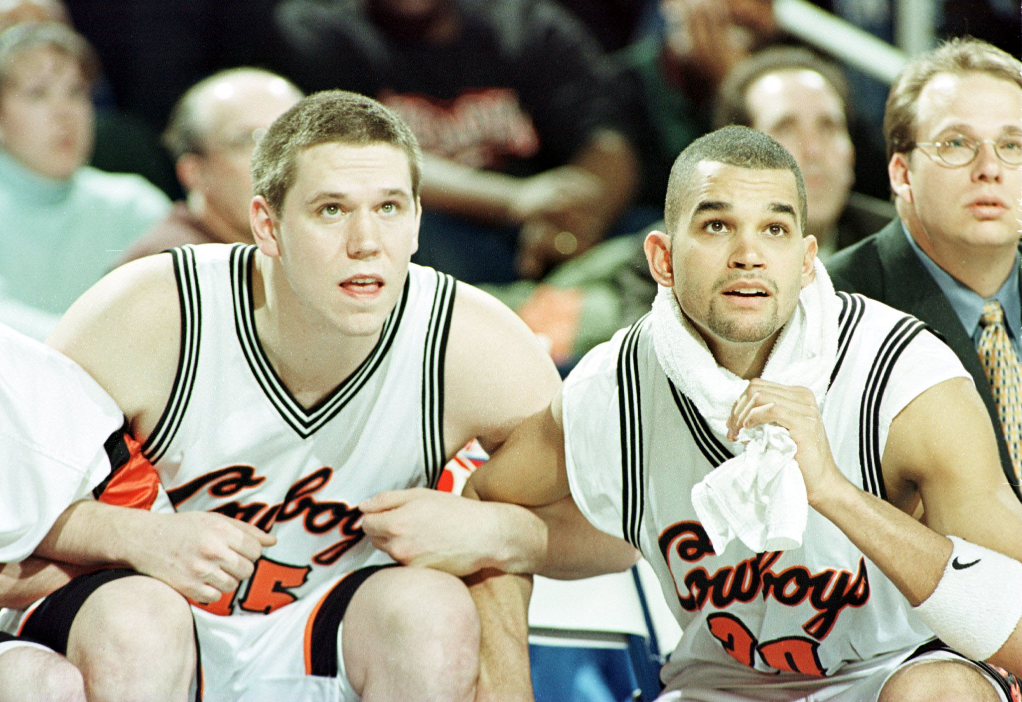 Alex Webber  and Brian Montonati  of Oklahoma State anticipate the Cowboys advance to the Sweet 16. (Getty Images)