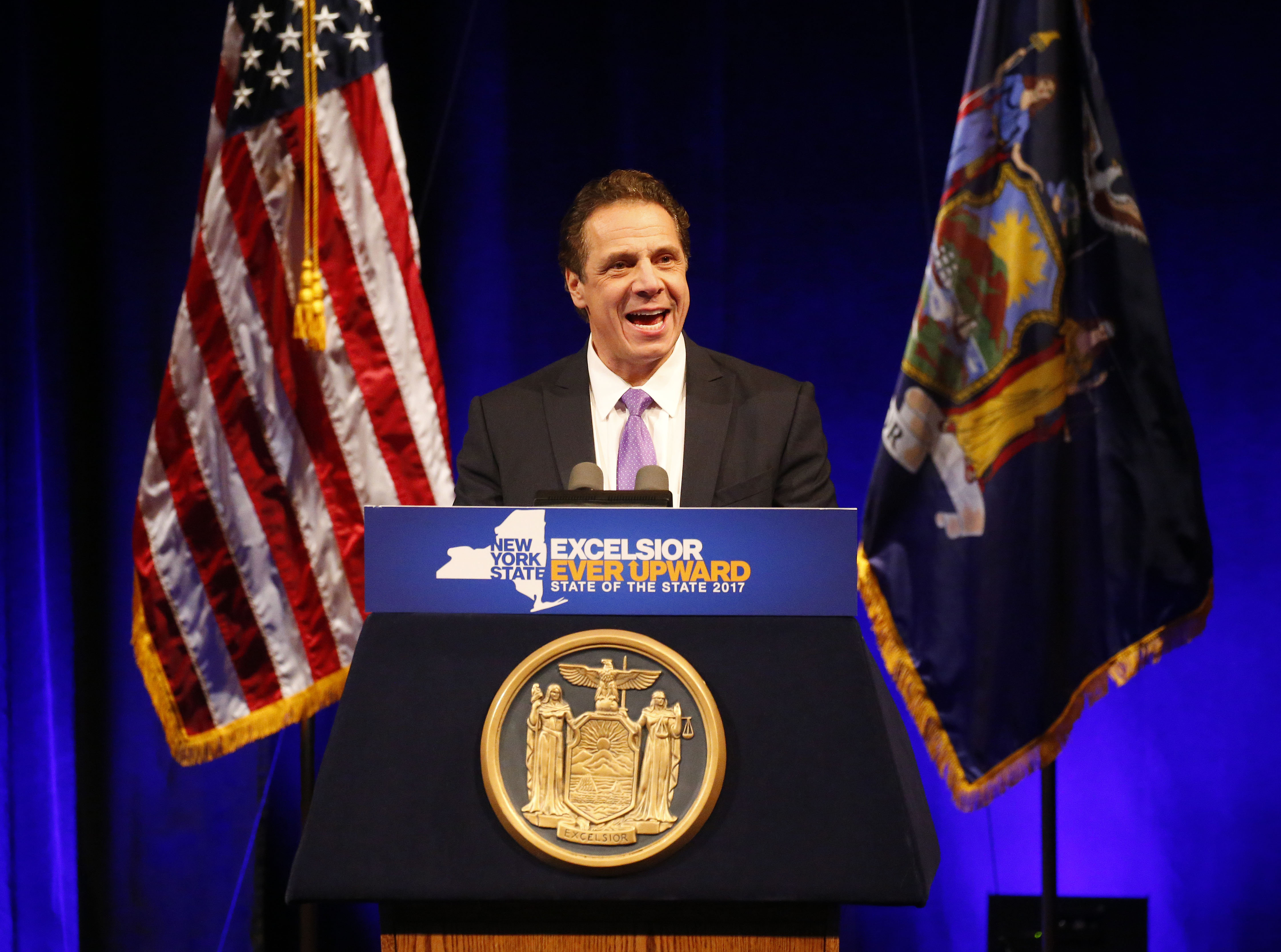 Gov. Andrew Cuomo gives his State of the State address at the University at Buffalo  Center for the Arts in Amherst Monday, January 9, 2017.  (Mark Mulville / The Buffalo News)