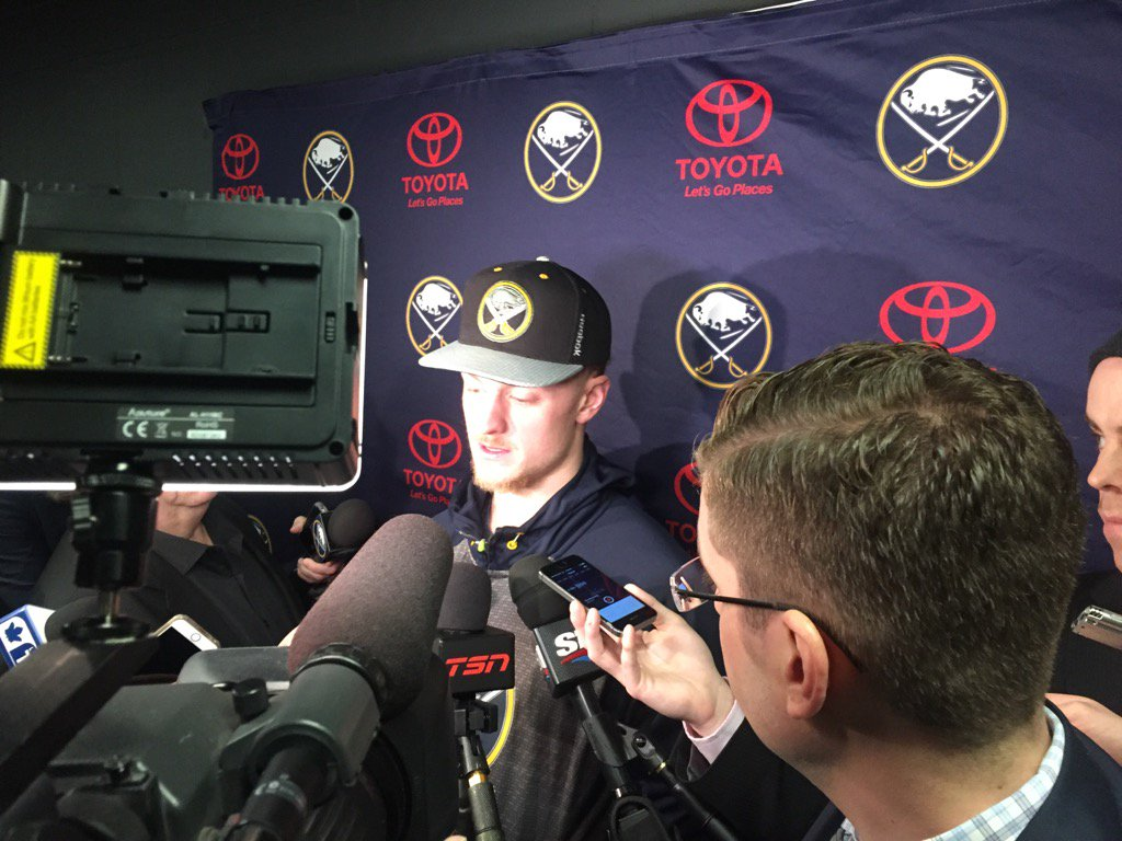 Jack Eichel deals with a media throng Tuesday morning in Toronto (Mike Harrington/Buffalo News).