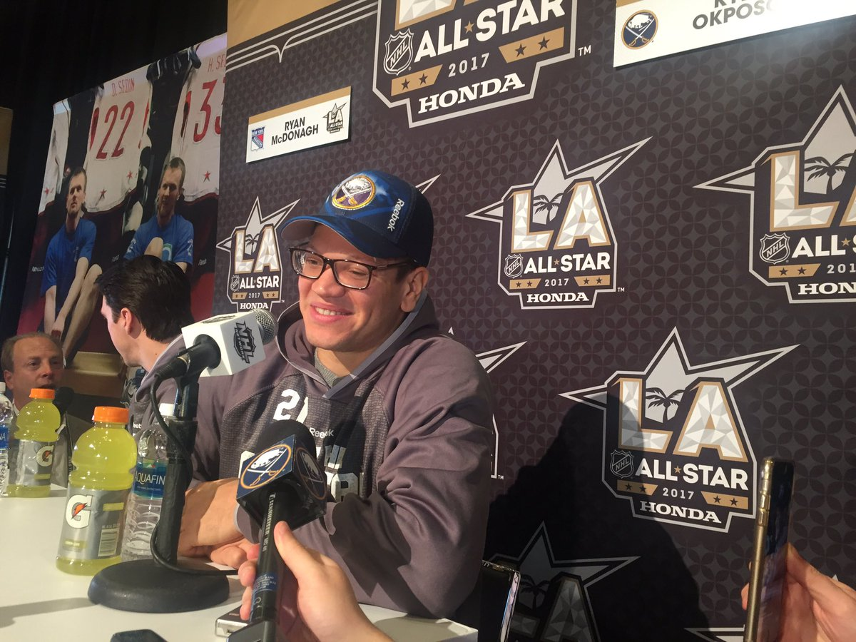 Kyle Okposo is all smiles about his first All-Star appearance (Mike Harrington/Buffalo News).