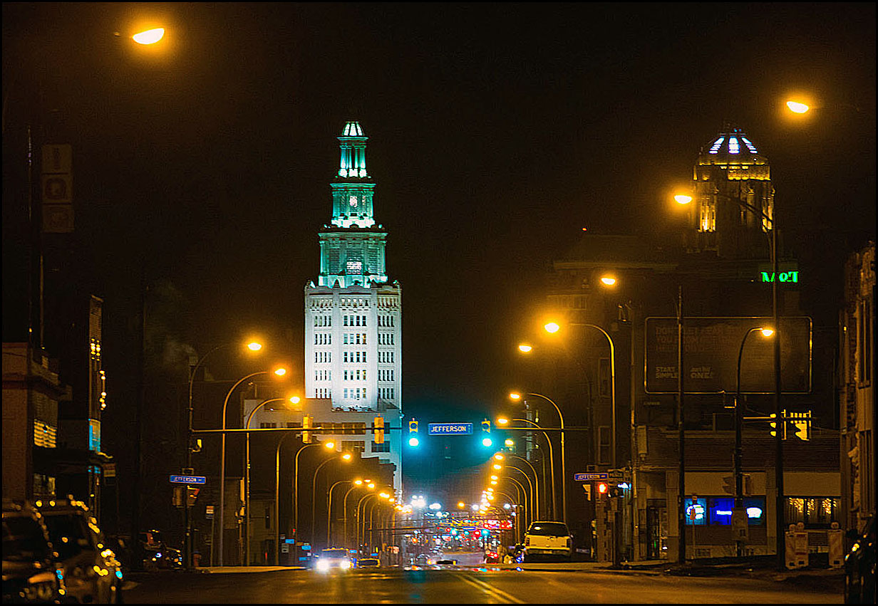 The Electric Tower glows as it rises above Genesee Street from near the intersection with Jefferson Avenue, Friday, March 10, 2017. (Derek Gee/Buffalo News)