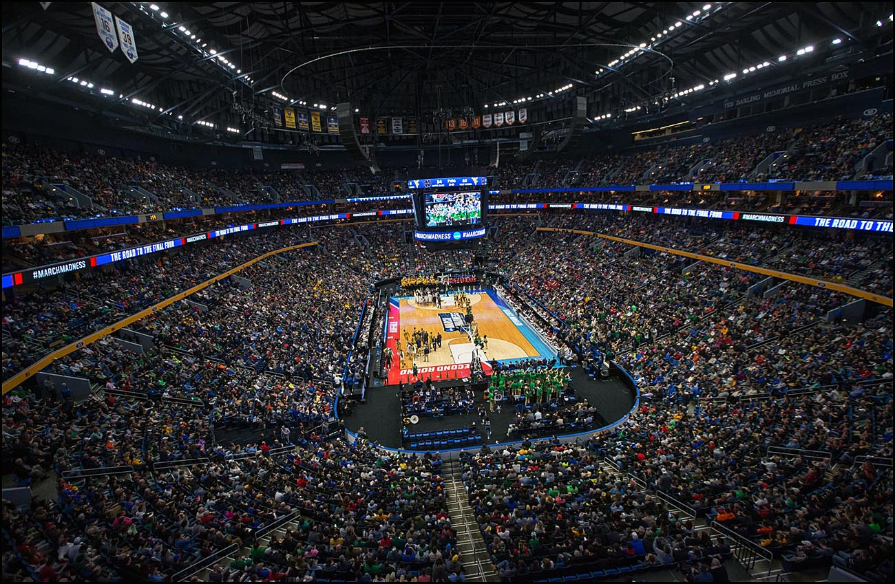 Full house: West Virginia plays Notre Dame during the second round of the NCAA Championship Tournament at the KeyBank Center in Buffalo. (Derek Gee/Buffalo News)