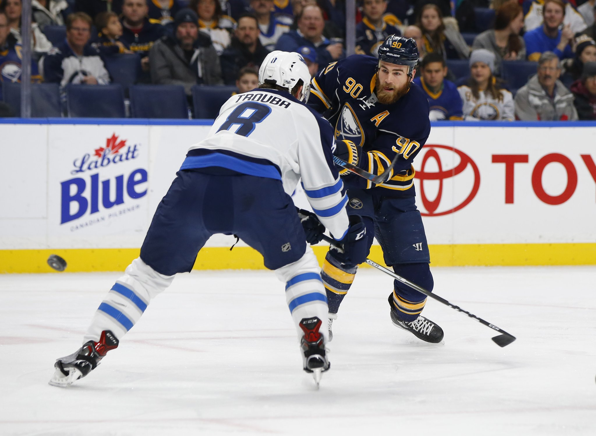 The Sabres and Ryan O'Reilly went after Jacob Trouba and the Jets after two poor periods. (Harry Scull Jr./Buffalo News)