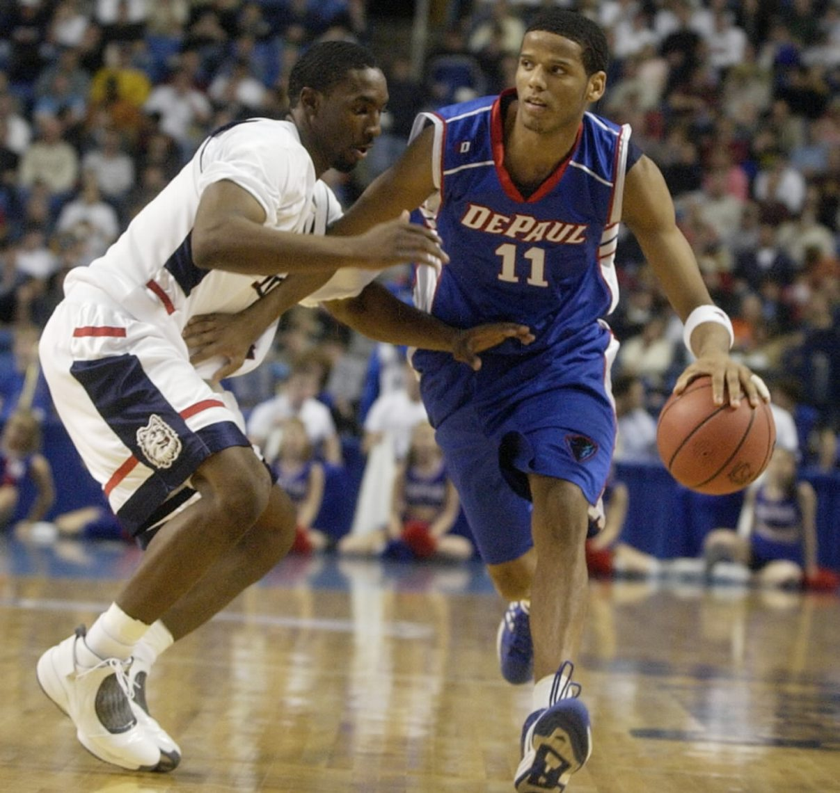UConn's Ben Gordon guards Depaul's Sammy Mejia. (John Hickey/Buffalo News)