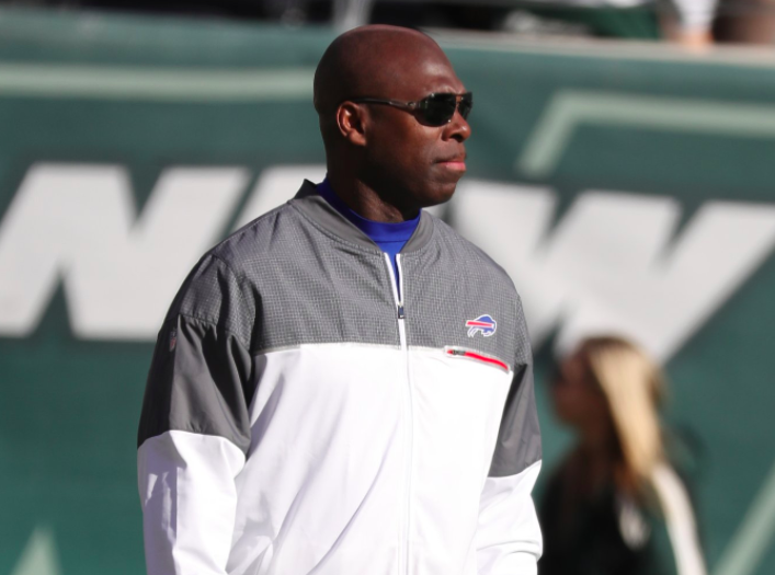 Former Bills interim coach Anthony Lynn slipped up in his first moment with his new team. (James P. McCoy/Buffalo News)