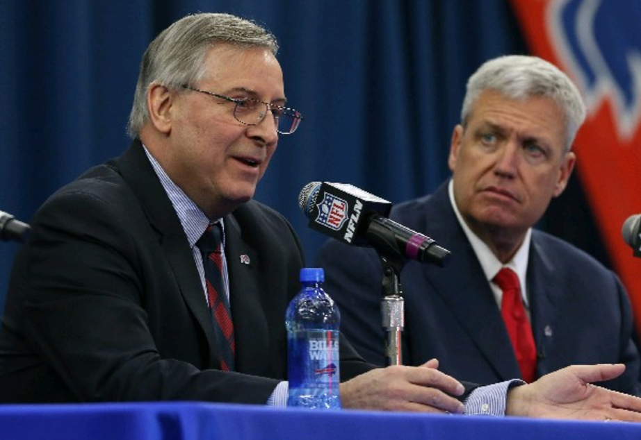 Bills owner Terry Pegula, left, at a press conference with Rex Ryan. (James P. McCoy/Buffalo News)