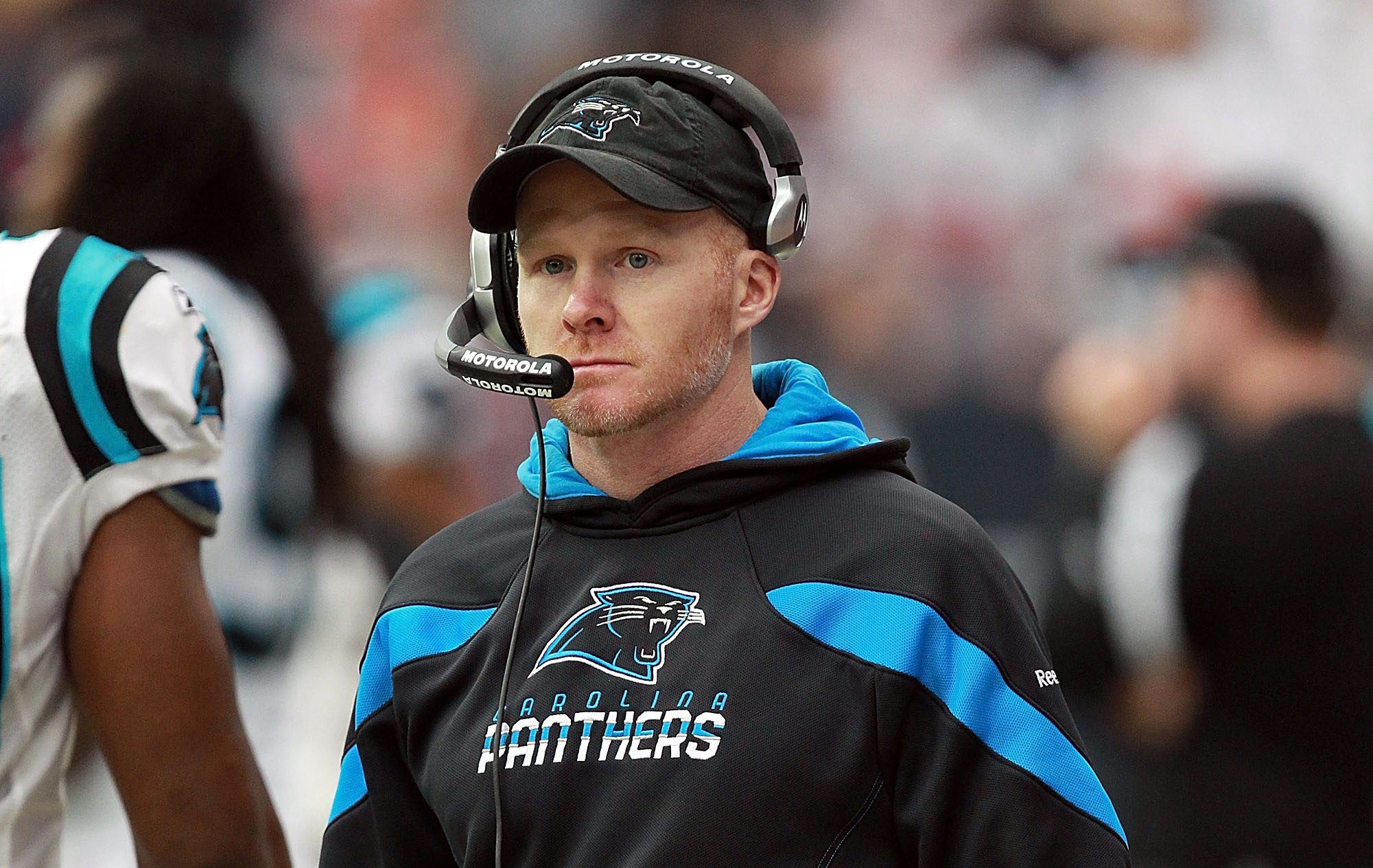 Defensive coordinator Sean McDermott of the Carolina Panthers at Reliant Stadium on December 18, 2011 in Houston, Texas. (Getty Images)