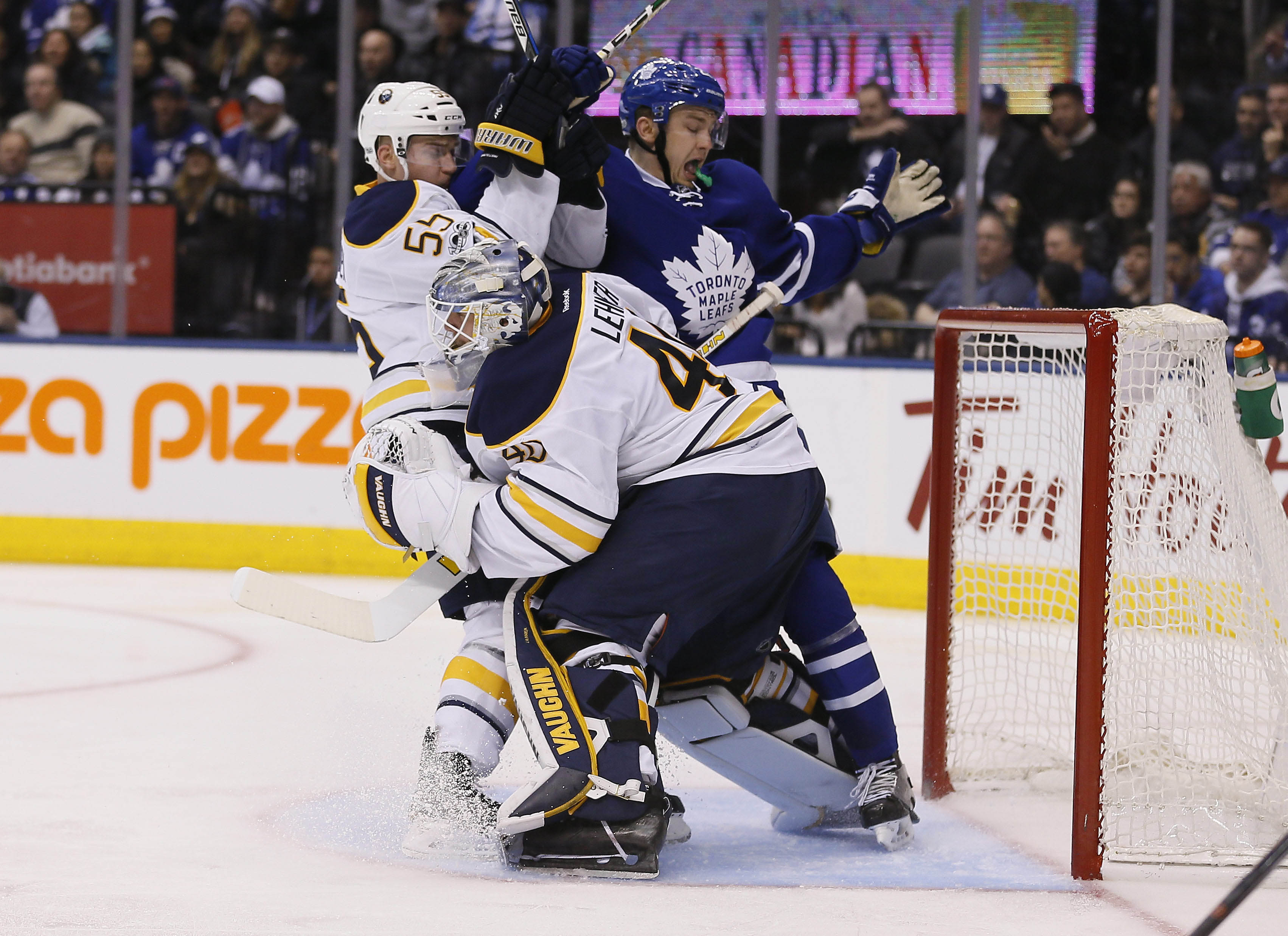 Sabres defenseman Rasmus Ristolainen and Toronto's James van Riemsdyk finished the game, but goalie Robin Lehner did not. (USA Today Sports)