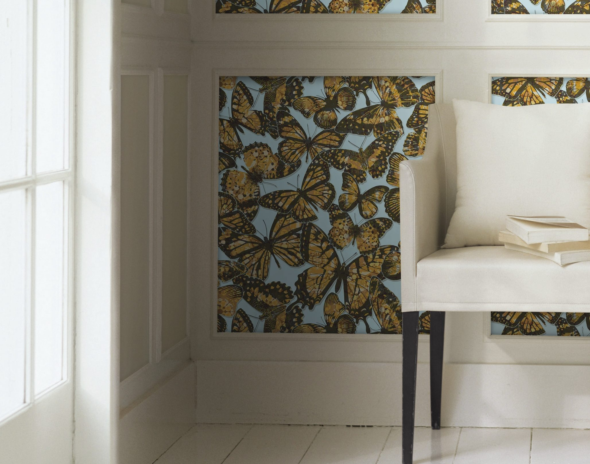 Bring some butterflies into your home in 2017 – even on wallpaper. The Jeweled Monarch pattern is from the Urban Chic collection from York Wallcoverings, yorkwall.com. (Photo courtesy York Wallcoverings)