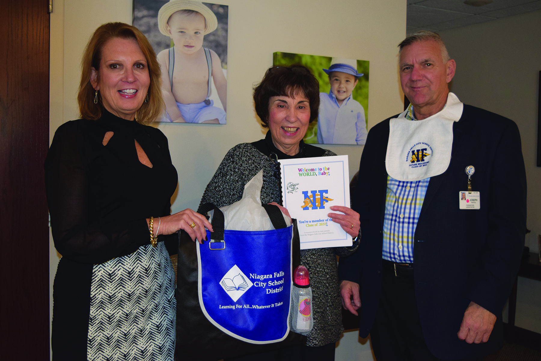 pictured, (l-r) District Response to Intervention Coordinator Cathy Sullivan, NFMMC  Chief Operating Officer Sheila Kee and NFMMC President and CEO Joseph Ruffalo
