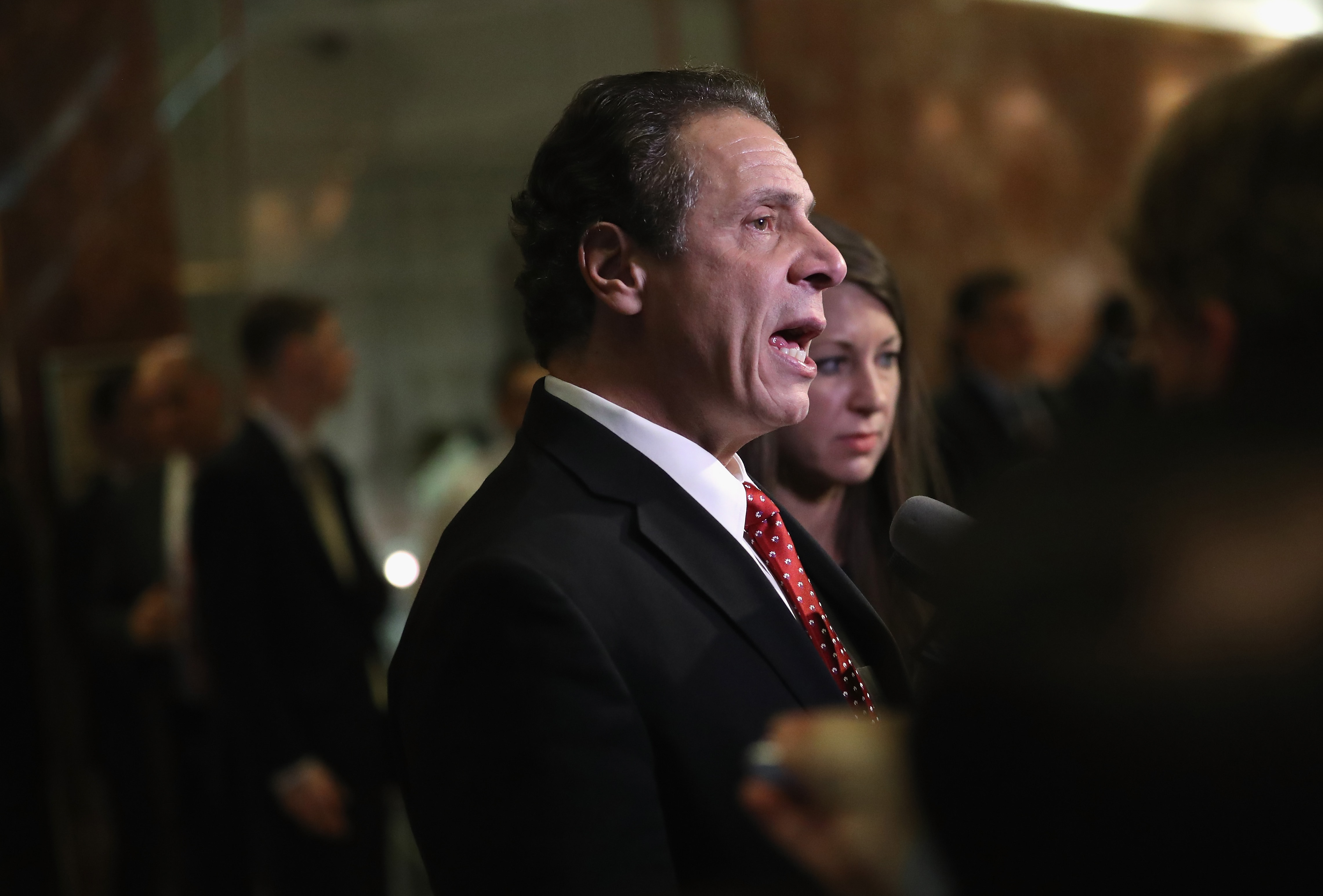 """""""Women deserve to make a fair wage and the same salary as any man, they deserve to work in an office free of sexual harassment, they deserve comprehensive paid family leave and they deserve control over their health and reproductive decisions,"""" Gov. Andrew Cuomo said in a statement. (Getty Images)"""