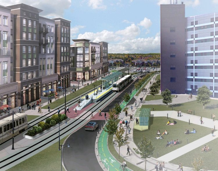A rendering of plans for the Metro Rail station at the University at Buffalo's North Campus in Amherst, part of the proposal to add 6.5 miles to the line.