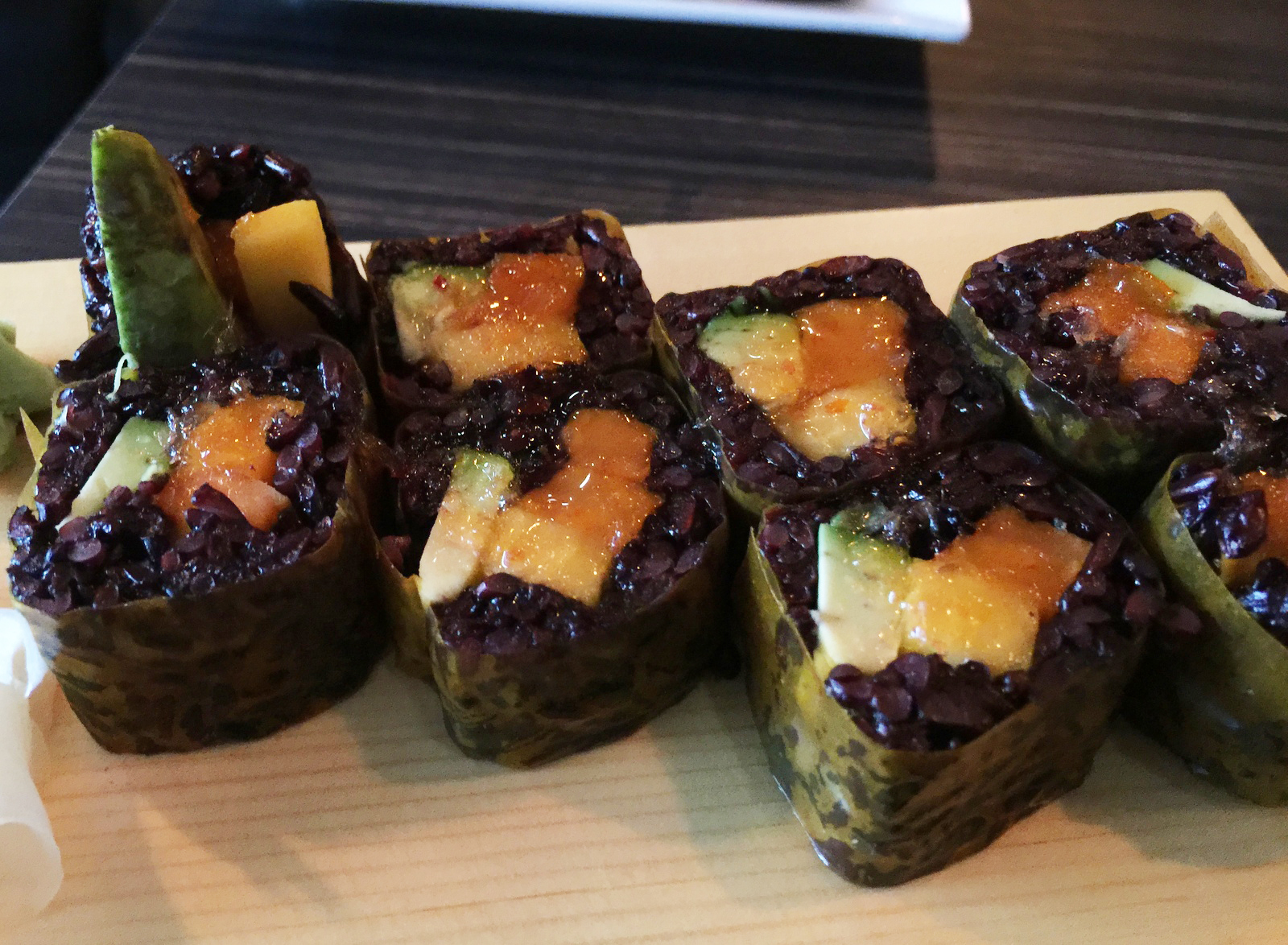 Mango roll at Sun Williamsville. (Andrew Galarneau/Buffalo News)
