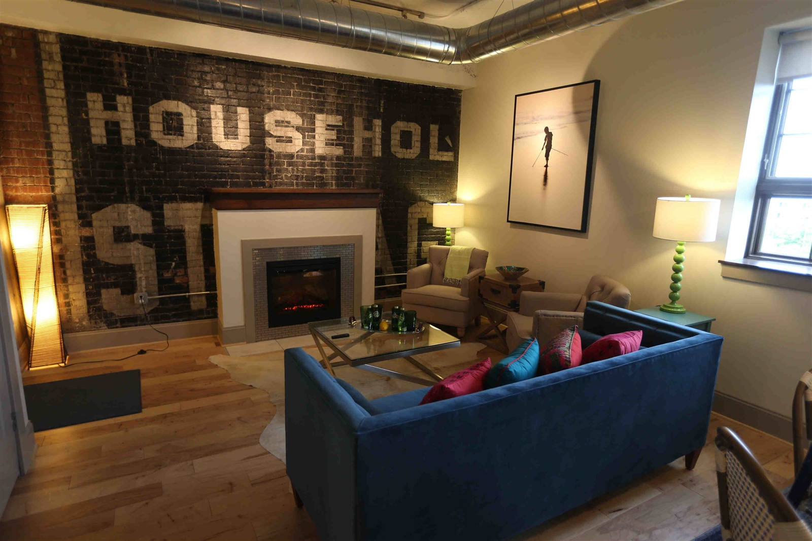 The living area of a one-bedroom apartment at the Turner Brothers Lofts. (John Hickey/Buffalo News)