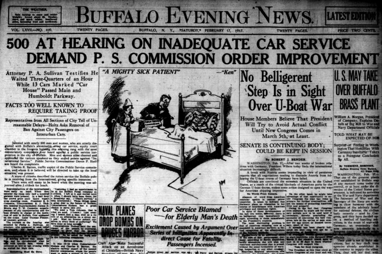 Front page, Feb. 17, 1917: 500 attend hearing on 'abominable' trolley service