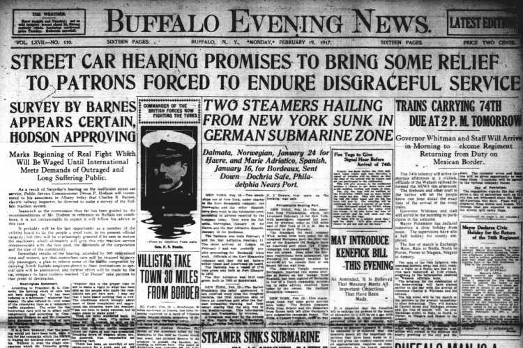 Front page, Feb. 19, 1917: Buffalo man commits suicide after an attempt to kill two women