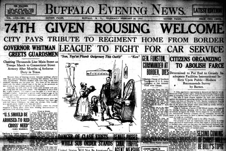 Front page, Feb. 20, 1917: 'Virile, aggressive' citizen group formed to fight 'heartless and greedy' trolley company